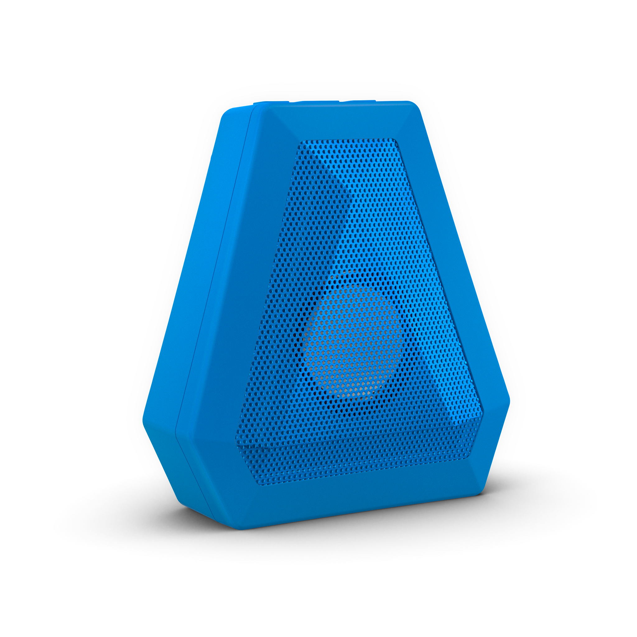 Blue triangle shaped boombotix speaker