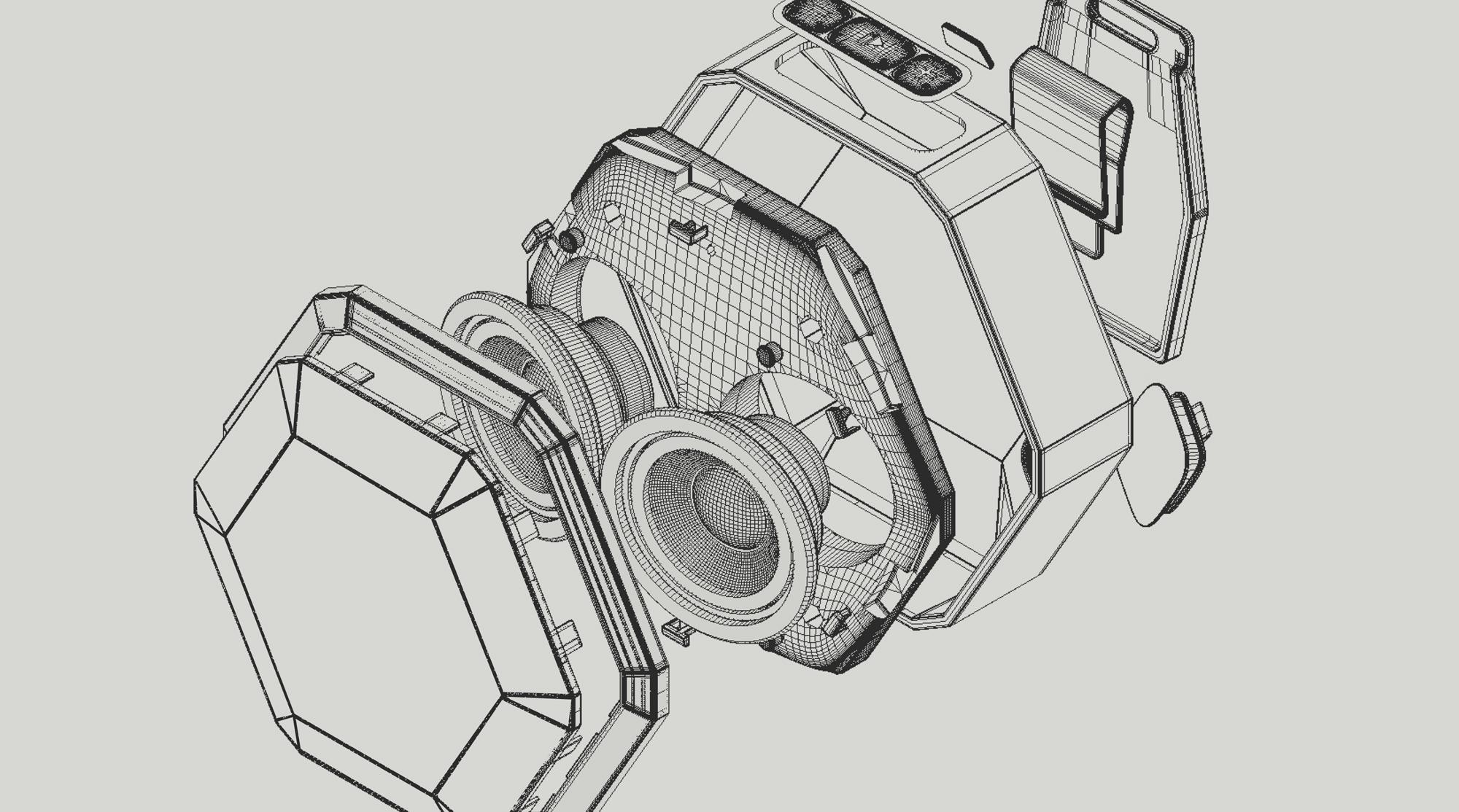 Boombotix engineering illustration of speaker