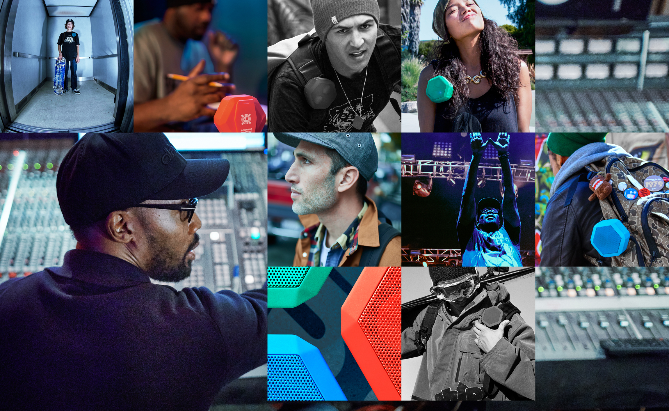 Collage of many different people using boombotix speakers in different settings