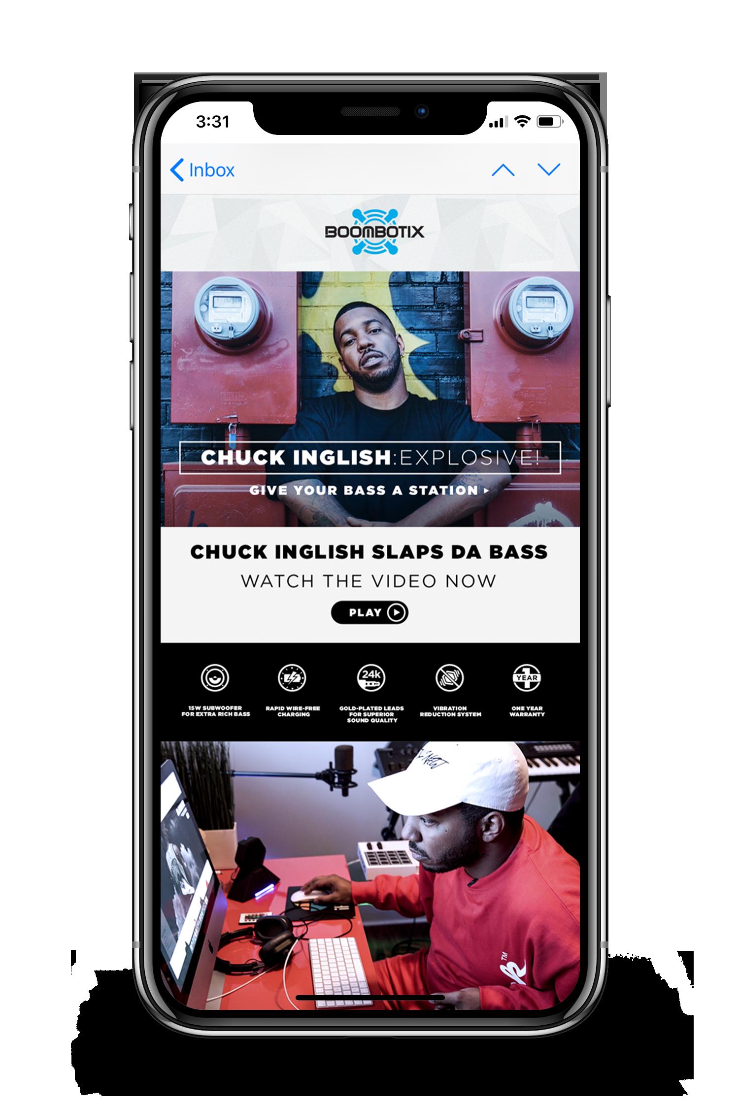 Boombotix website chuck english video being displayed on smartphone