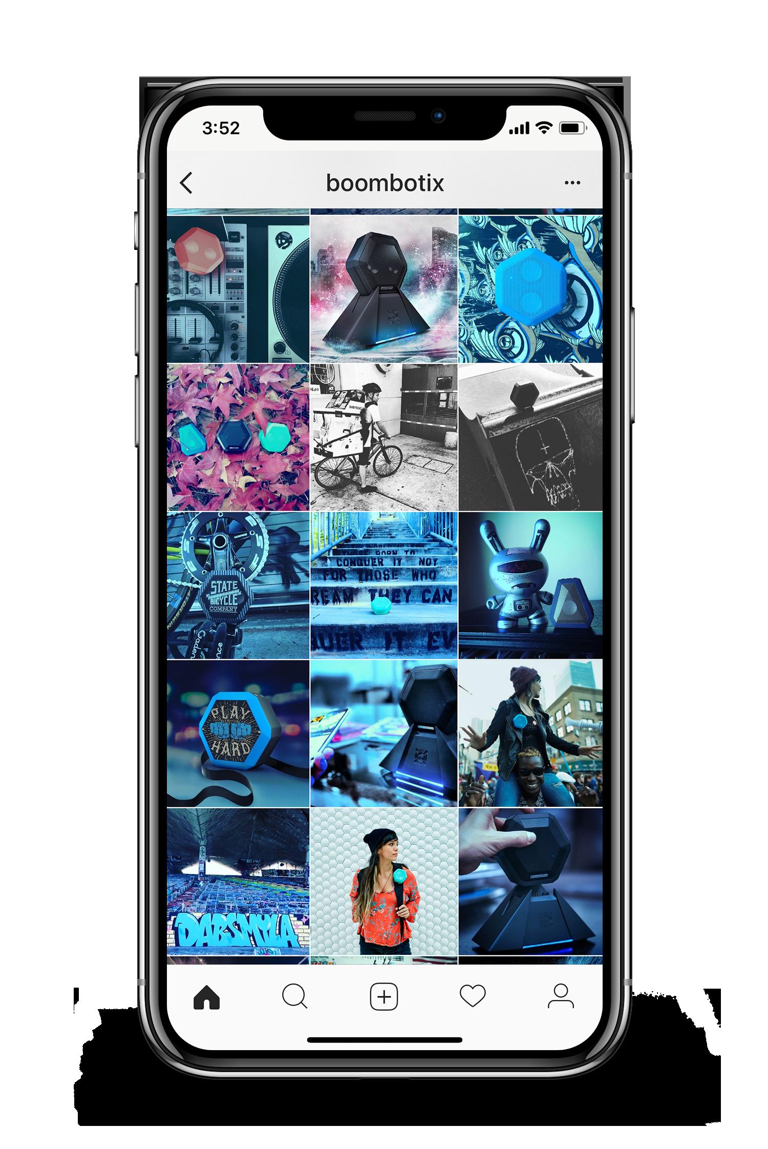 Boombotix instagram feed being displayed on smartphone