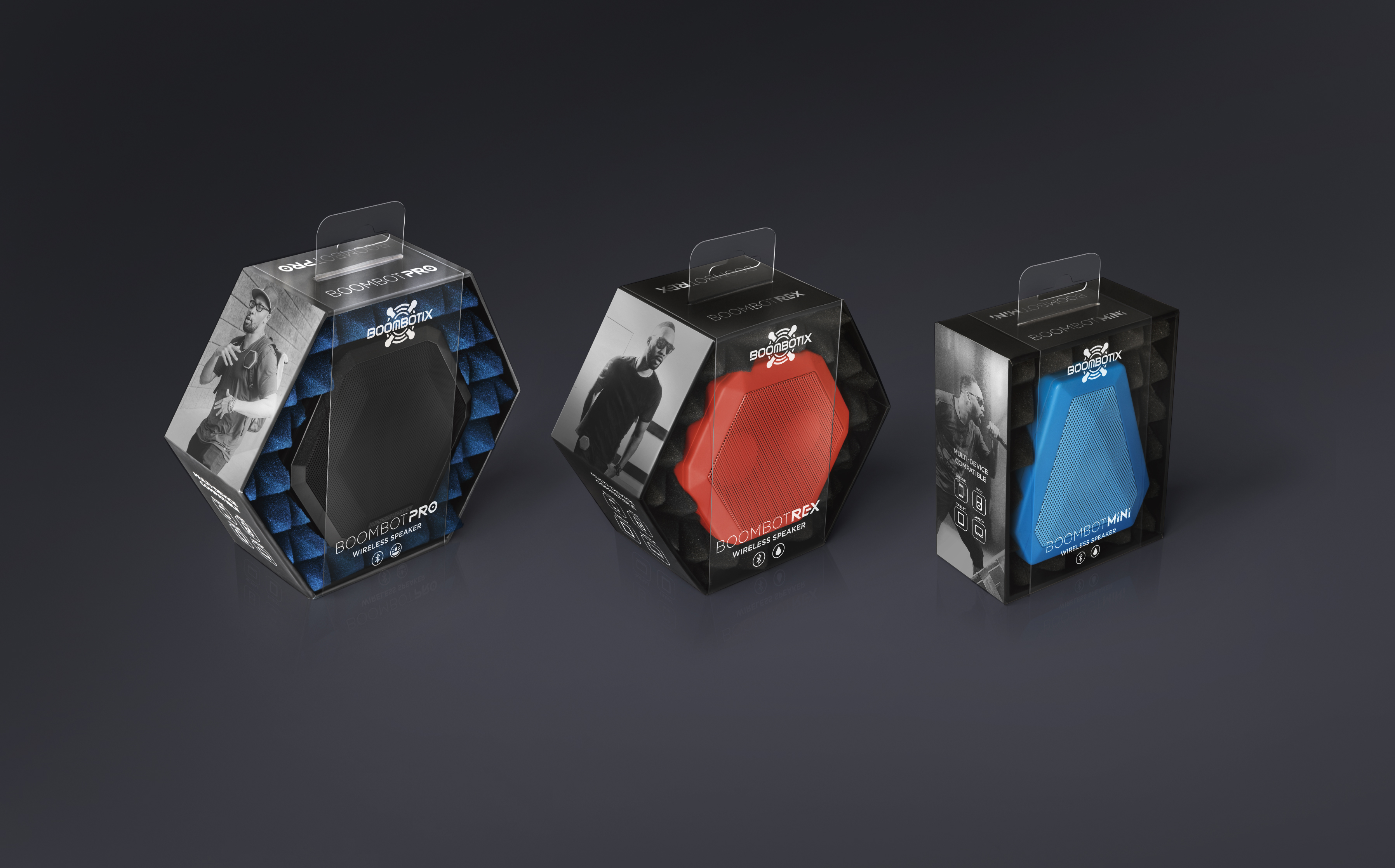 3 boombotix speaker products being displayed in various colors