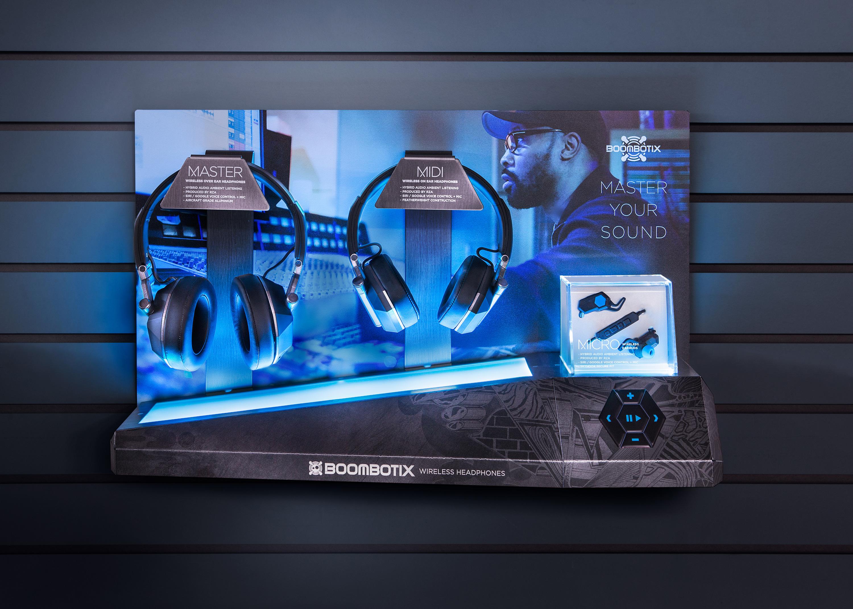 Store product display for boombotix headphones