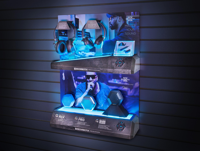 Boombotix headphone and speaker retail product display