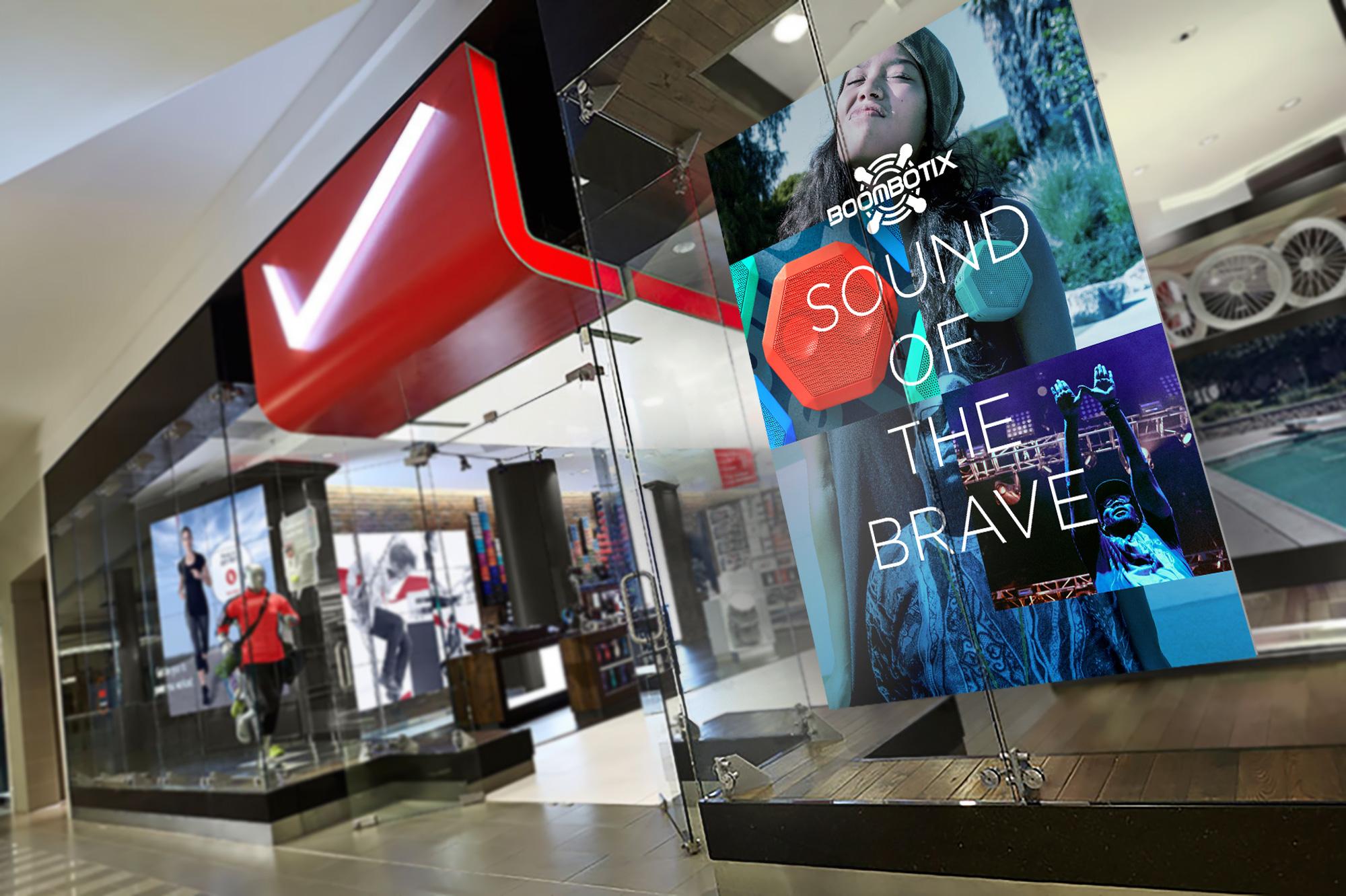 Boombotix retail display advertisement with various imagery of people enjoying music