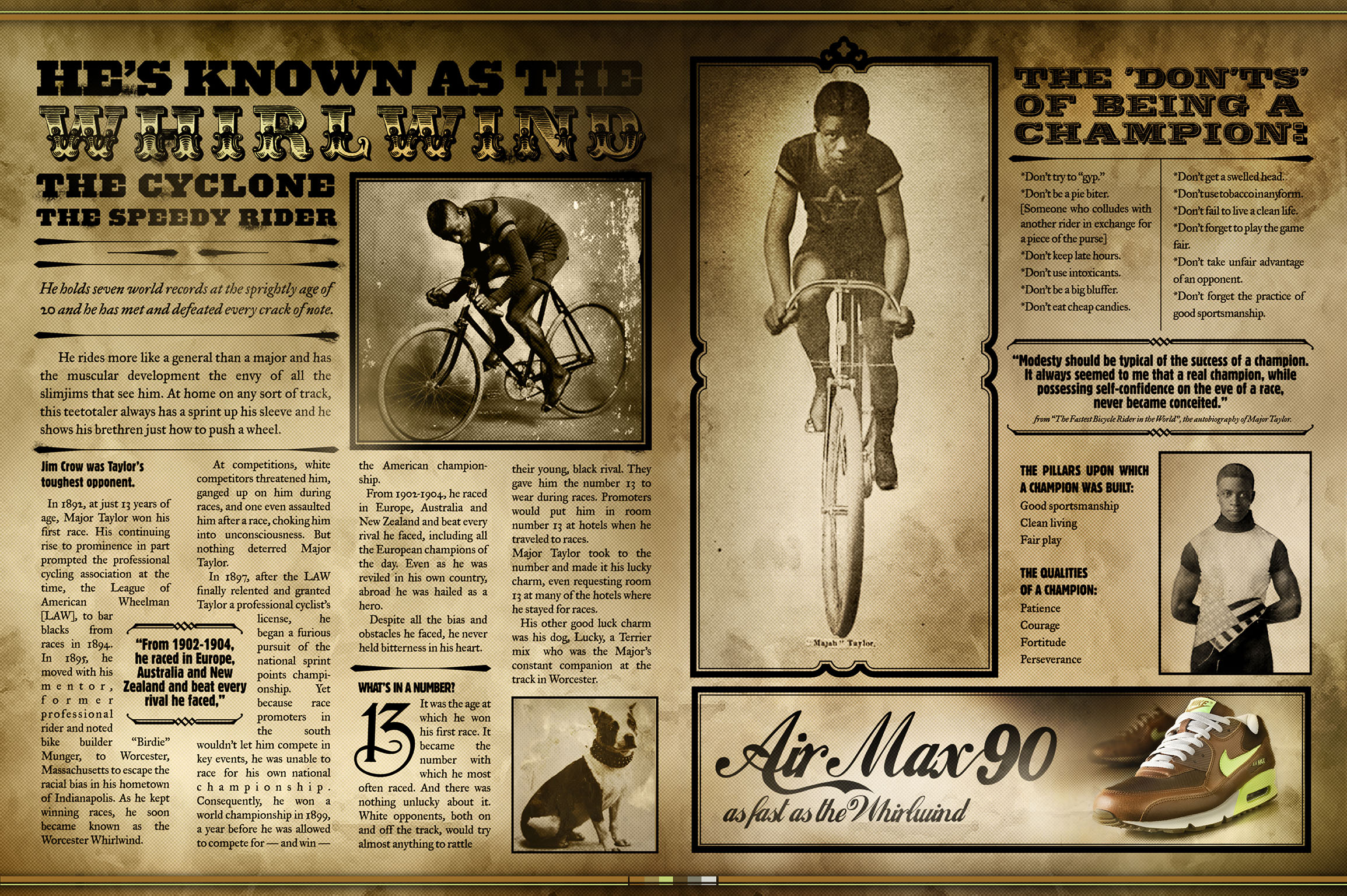 Vintage news print ad mockup for nike with person on bicycle