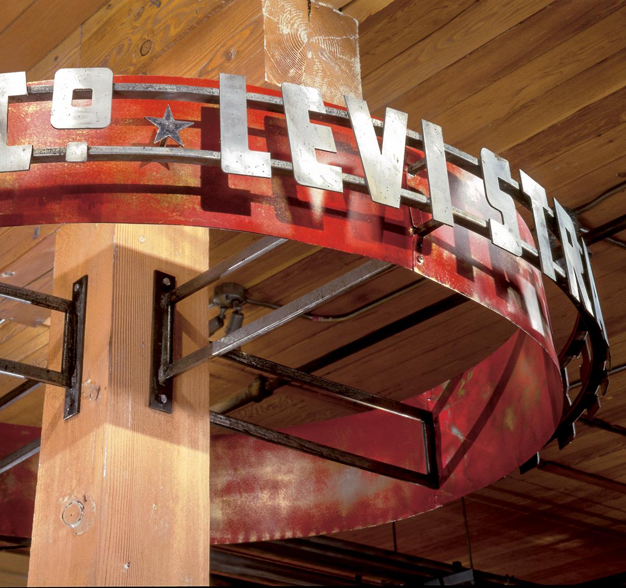 Levis steel store banner around pillar