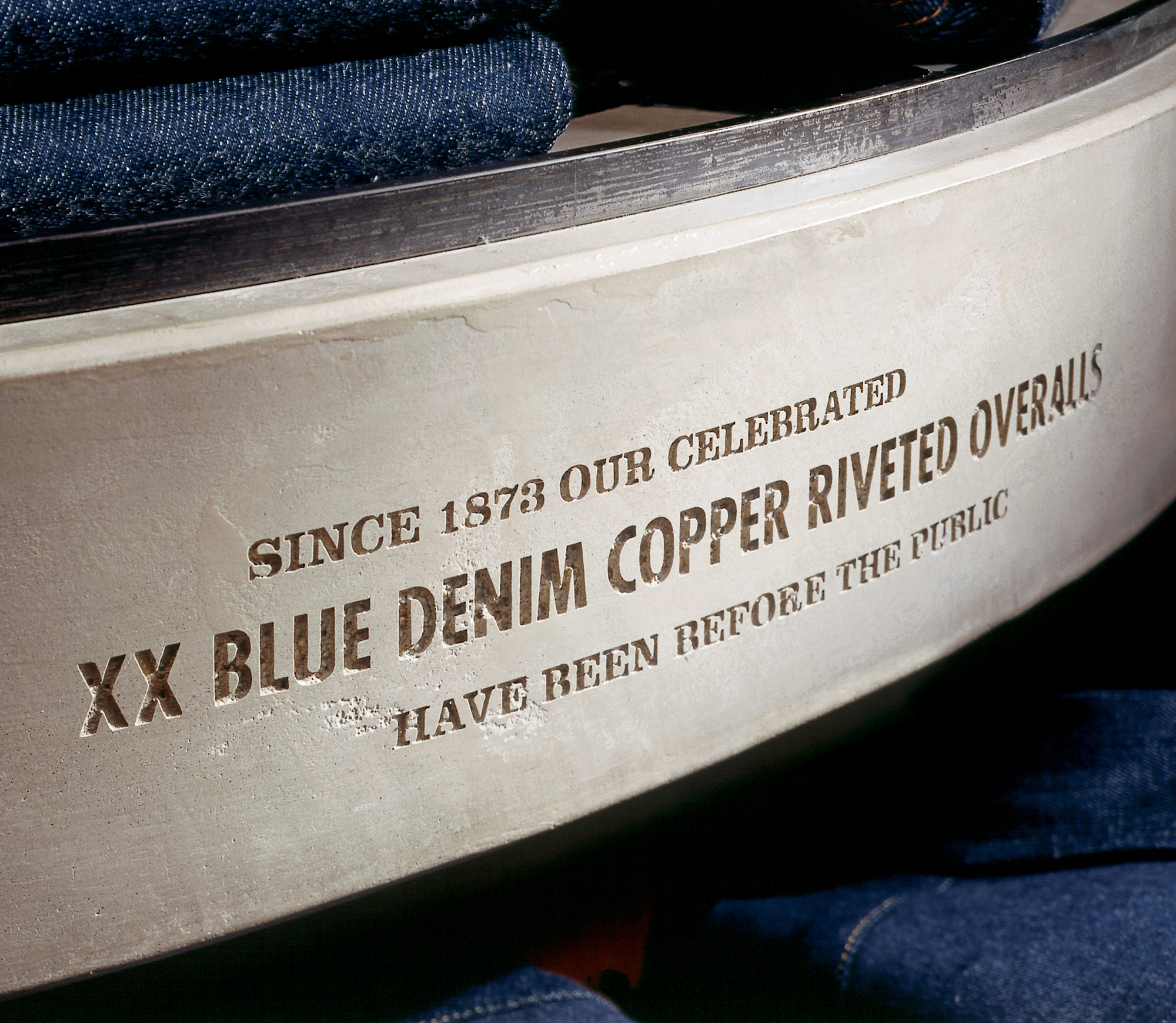 Embossed type on the side of a Levis product display
