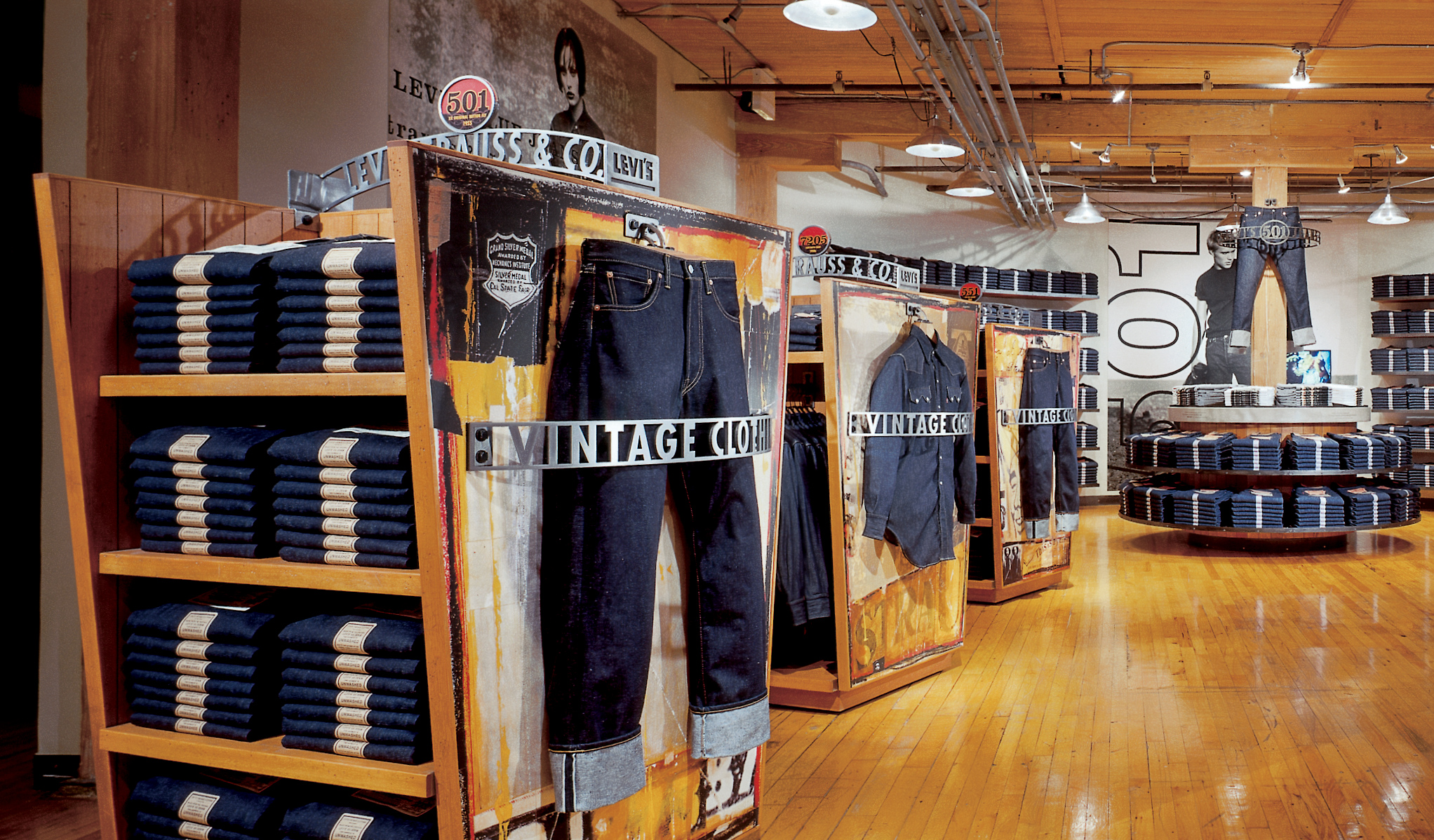 Levis vintage store displaying pieces of denim clothing