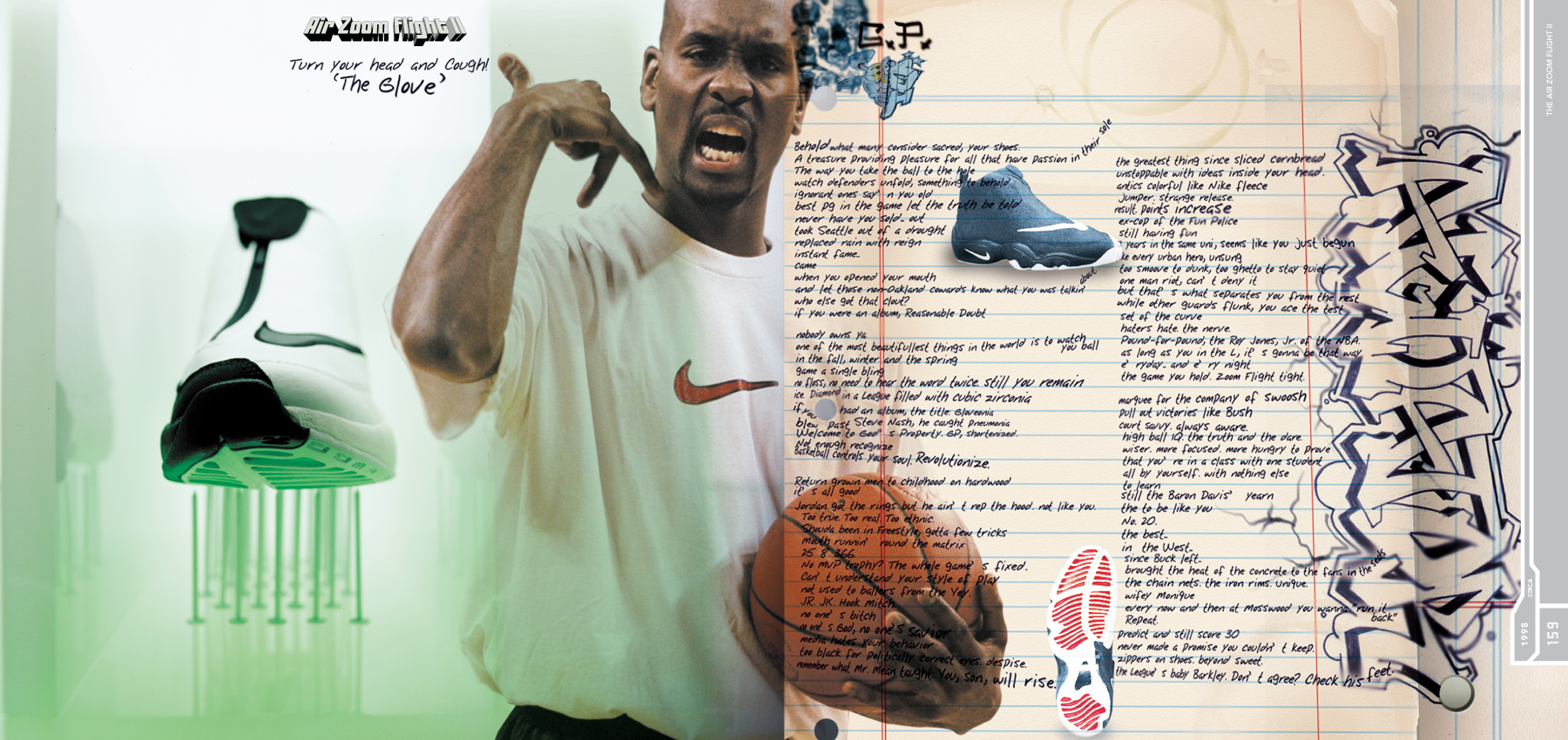 Nike sole provider spread with lined paper graffiti and sneakers