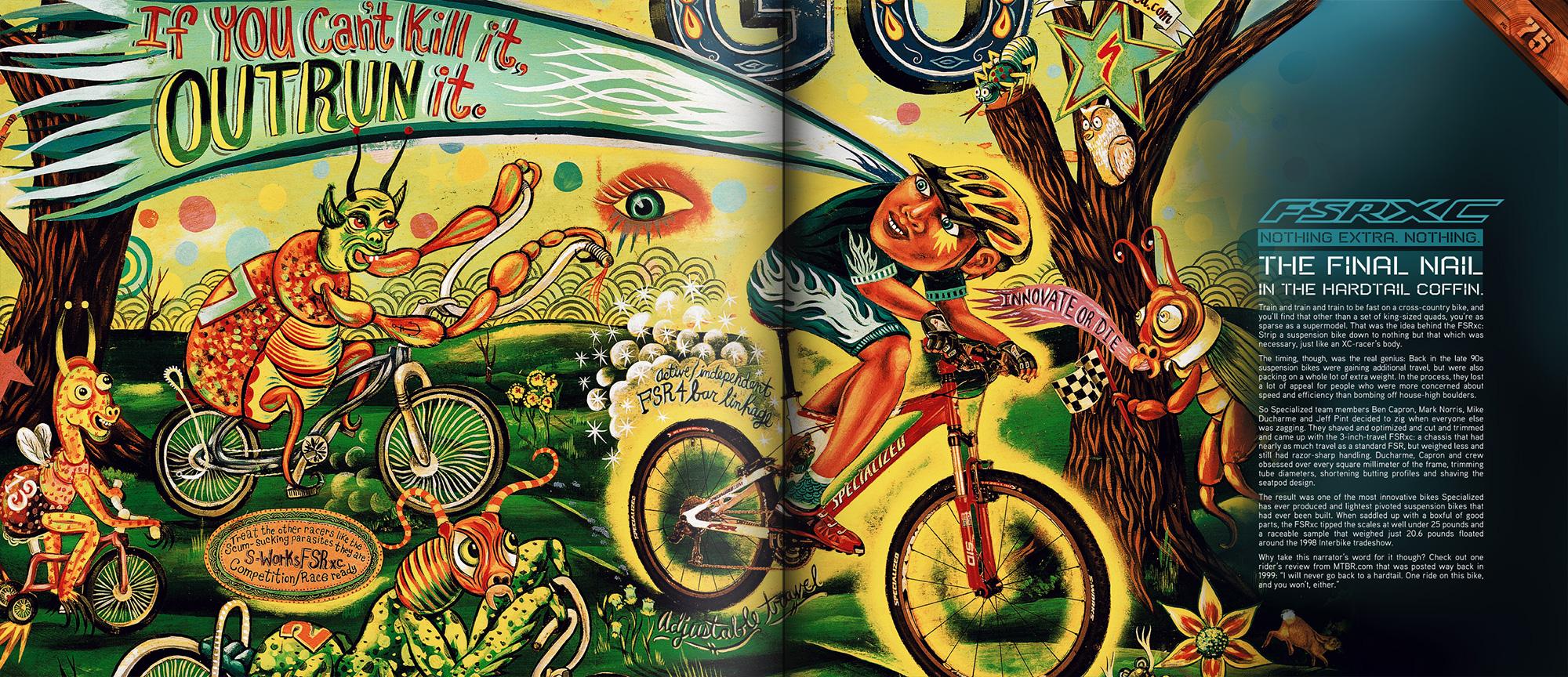 Stunt jumper anniversary book depicting psychedelic illustration of  stuntjumper in race
