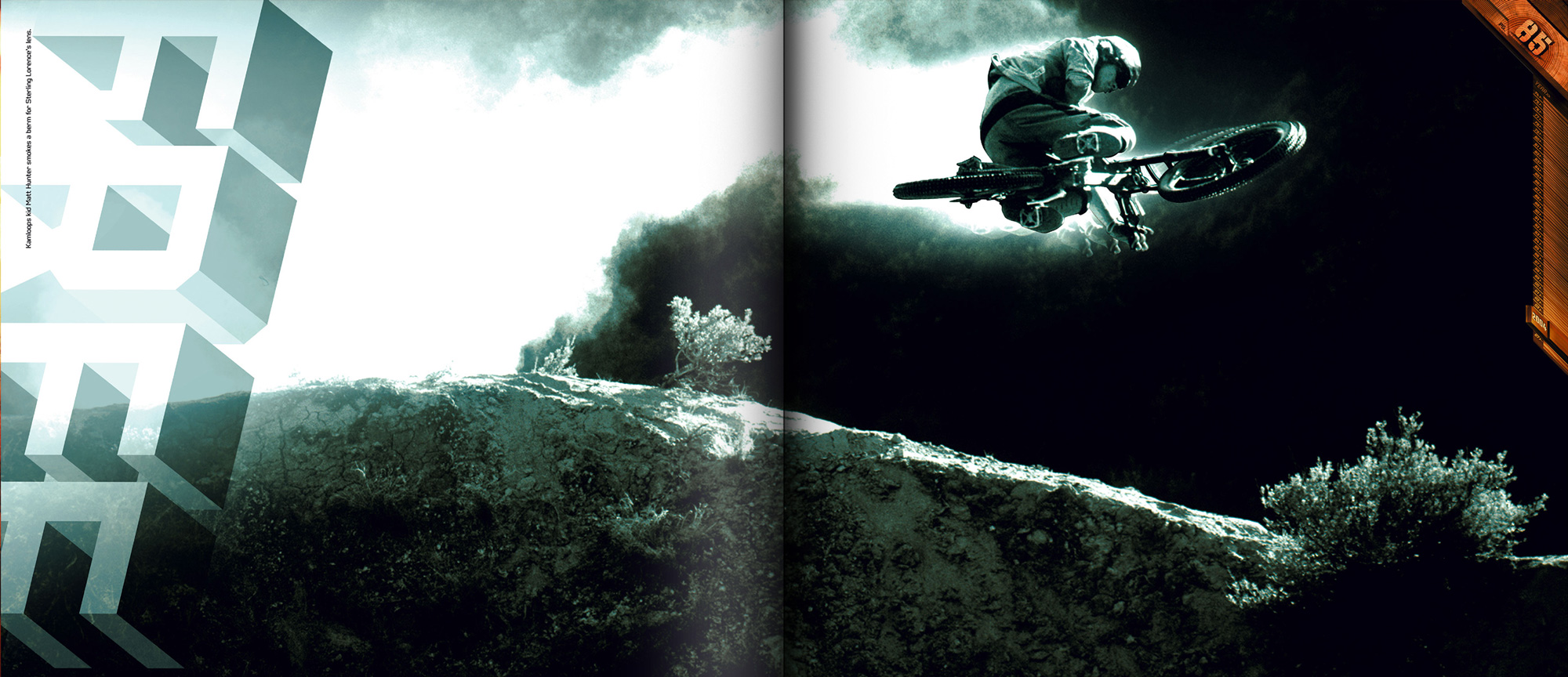 Stunt jumper anniversary book depicting bike jump