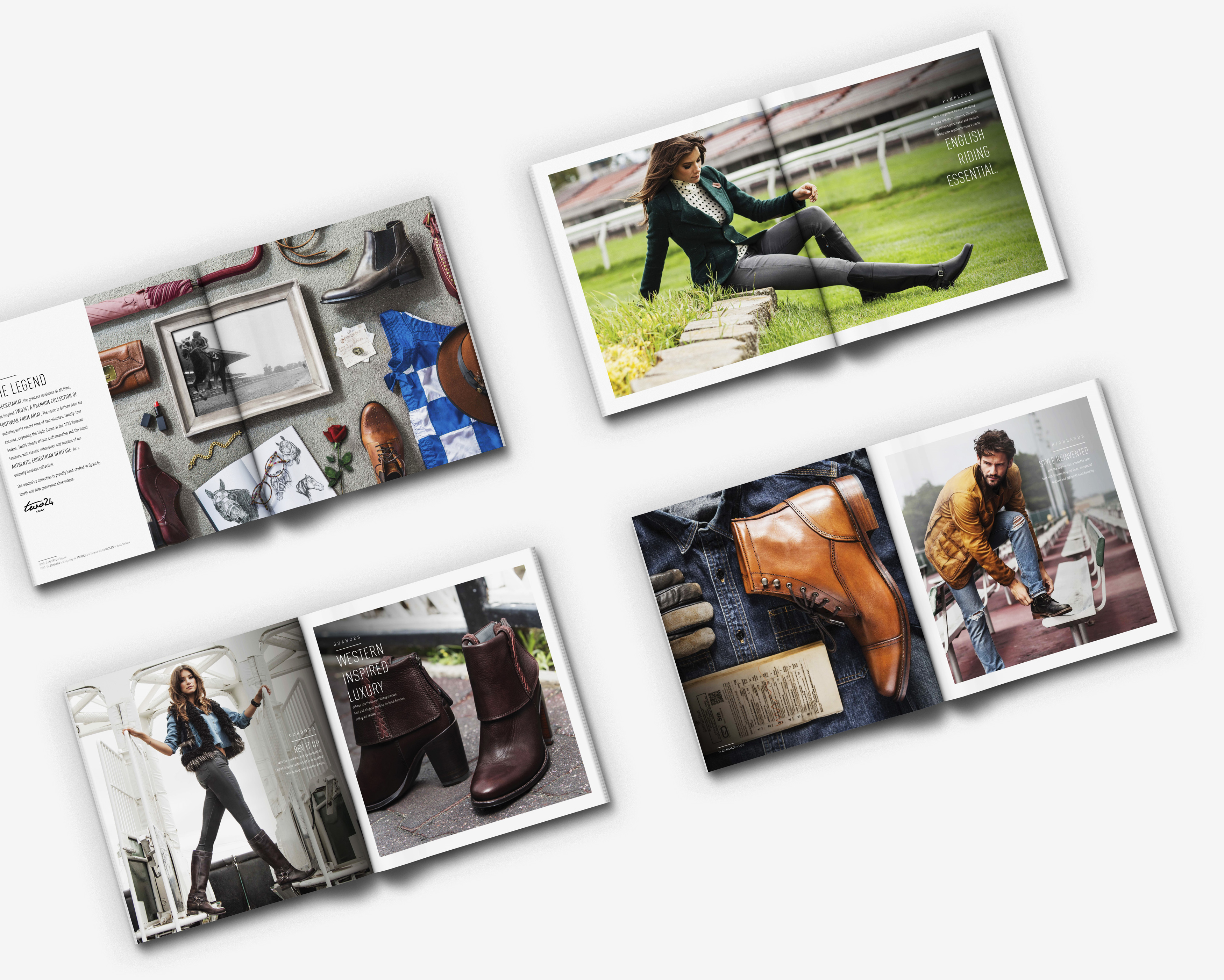 Several spreads of Ariat two 24 fashion magazine with men and girl posing with fashionable boots