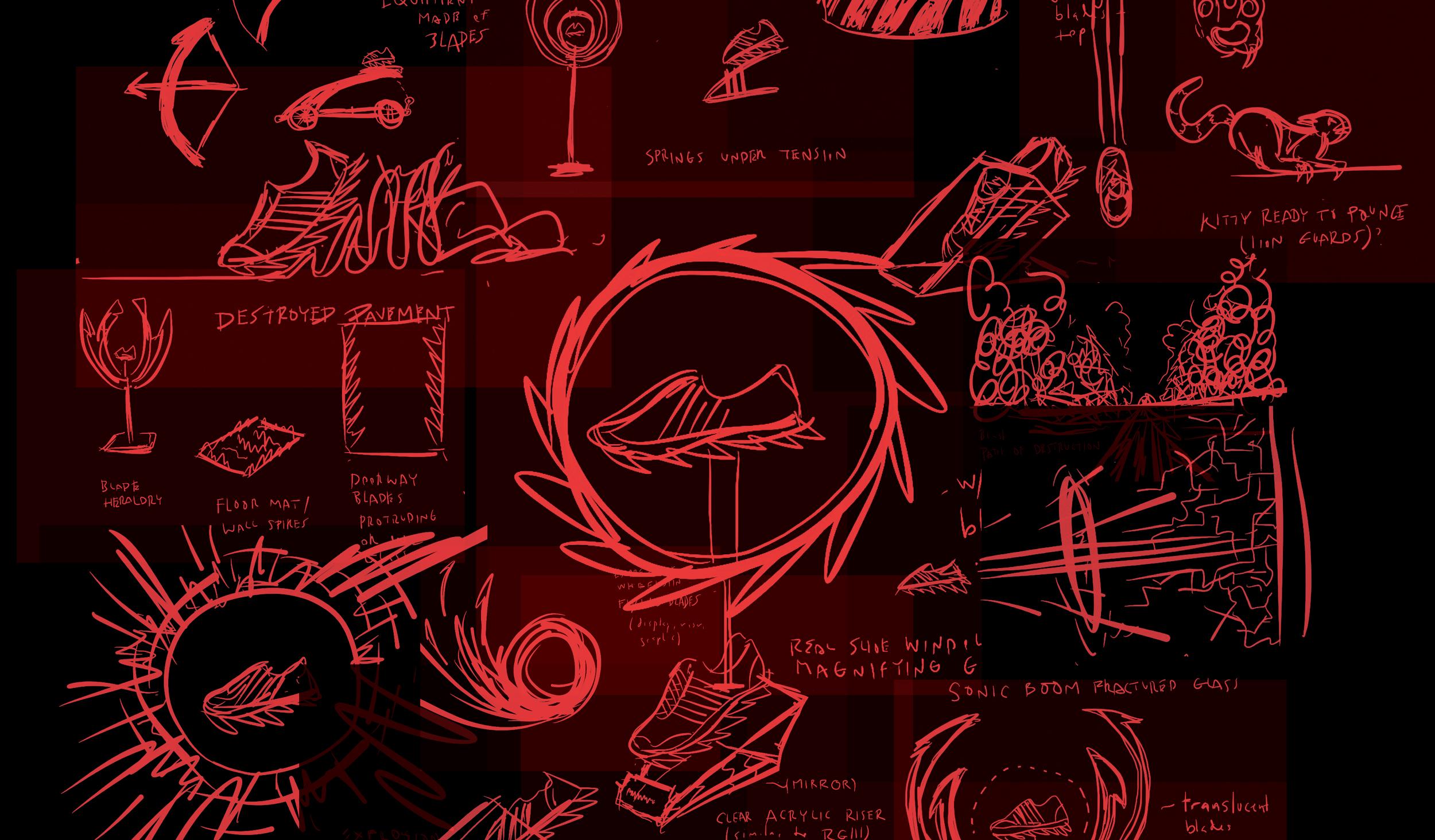 adidas Springblade fixture sketches