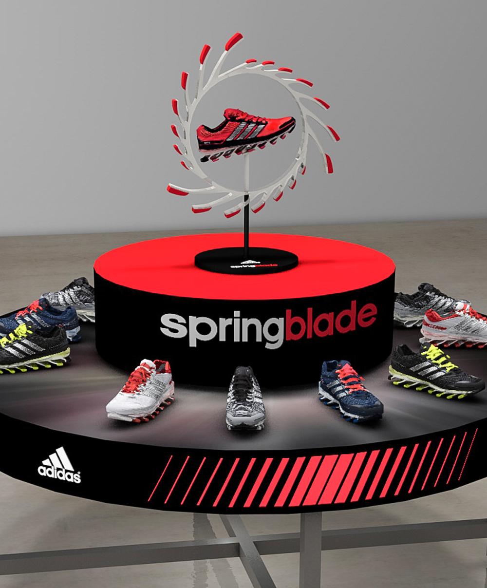 adidas Springblade shoe table highlight render
