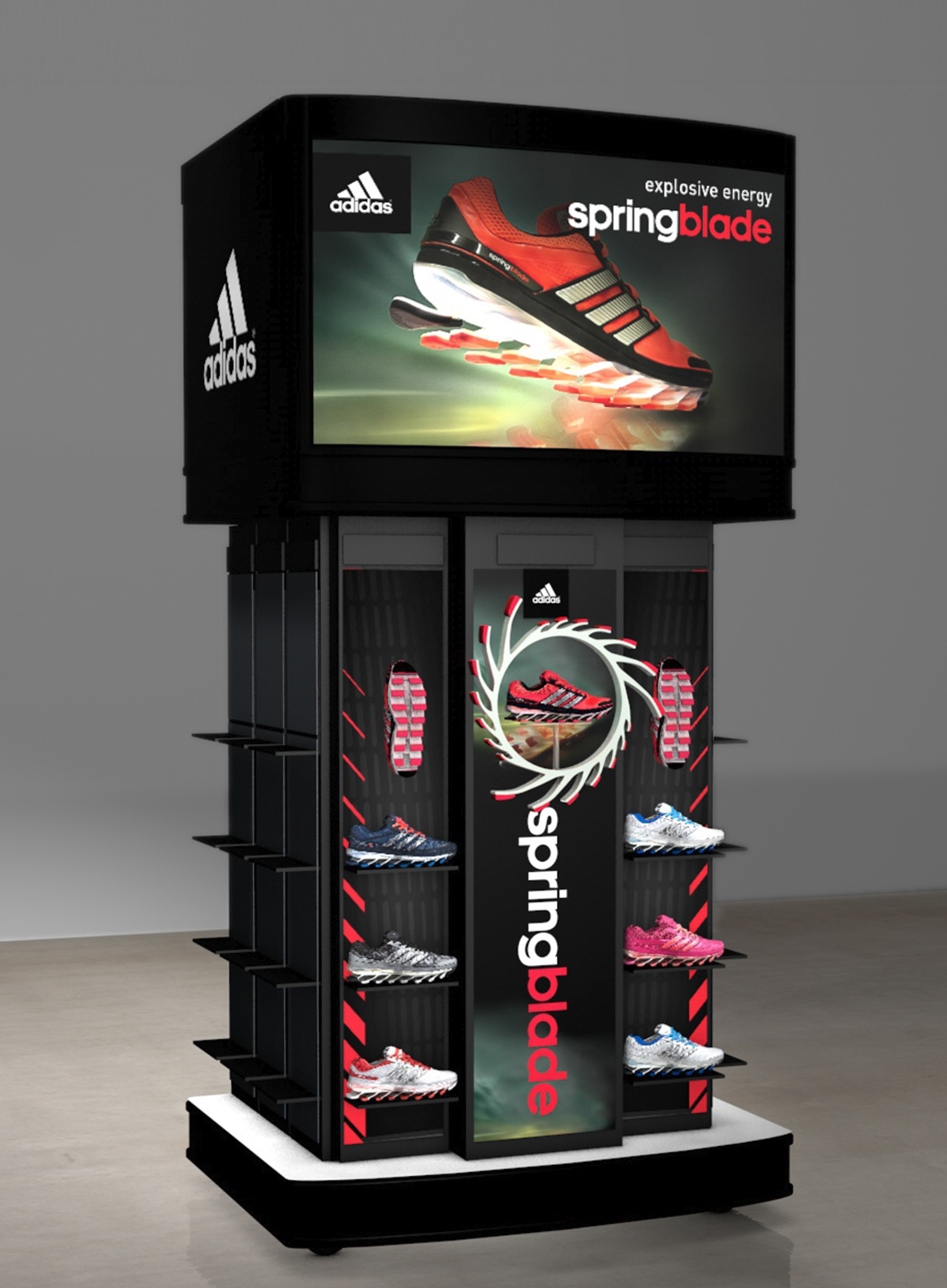 adidas Springblade free-standing fixture render featuring shoes and graphic