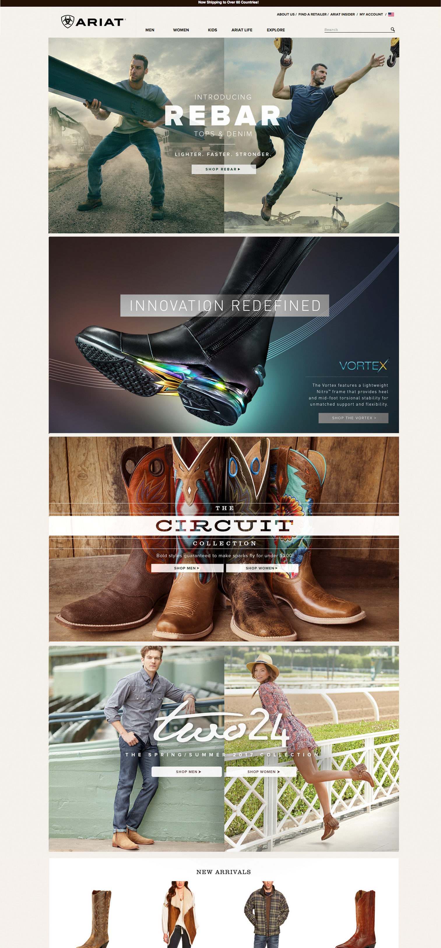 Ariat.com home page layout