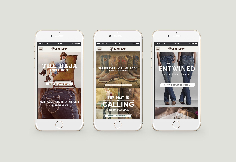 Three phones with Ariat.com mobile site