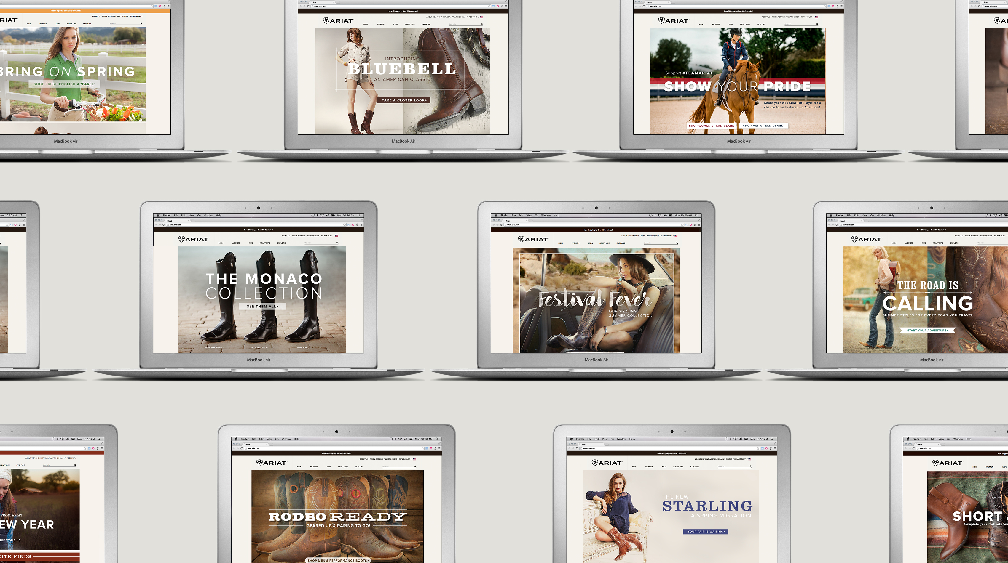 Collection of Ariat.com webpages on computers