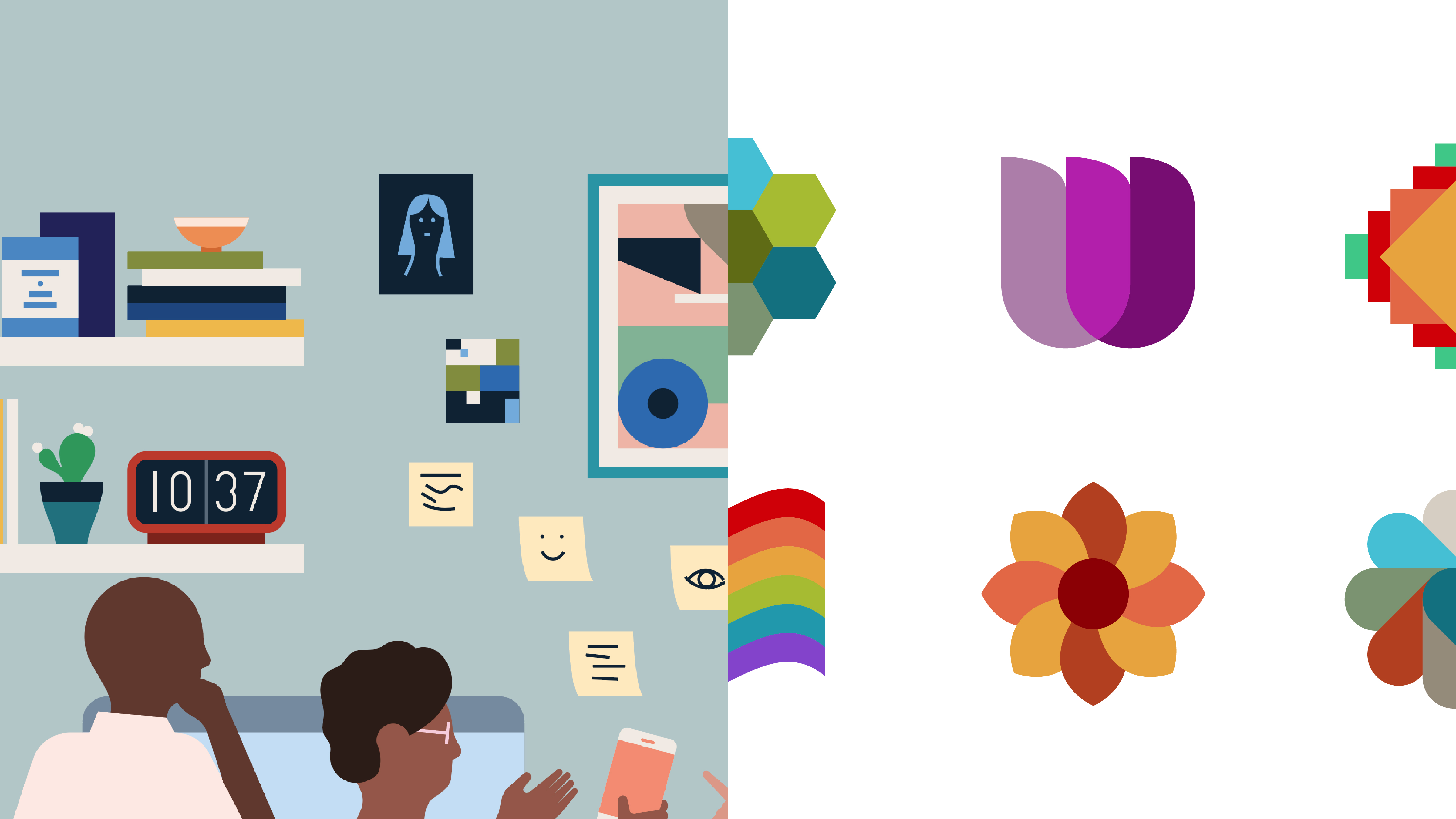 """LinkedIn Employee Resource Group icons with """"Work at Work"""" illustration inspiration"""
