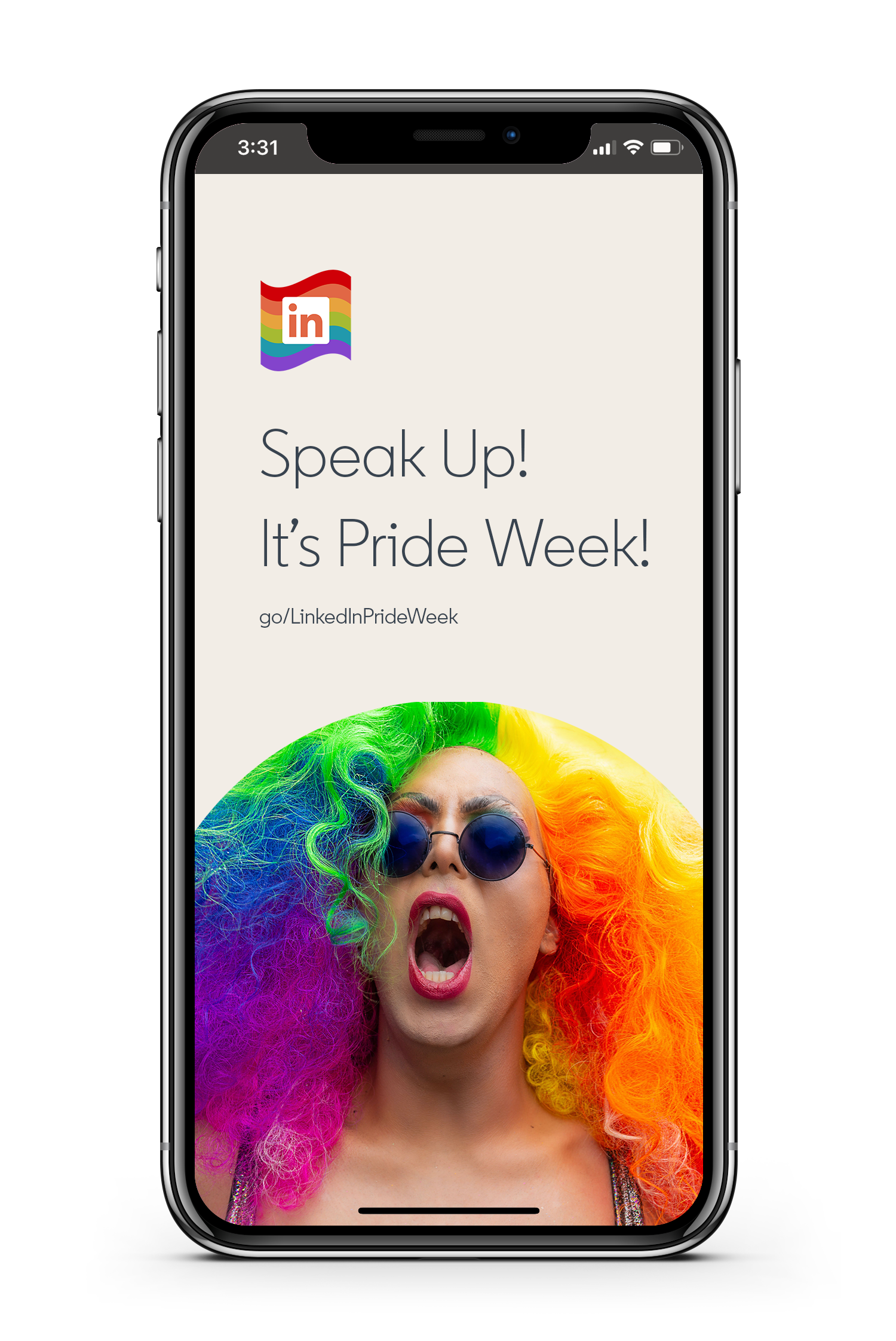 LinkedIn Employee Resource Group In@Out webpage with woman with rainbow hair on iPhone
