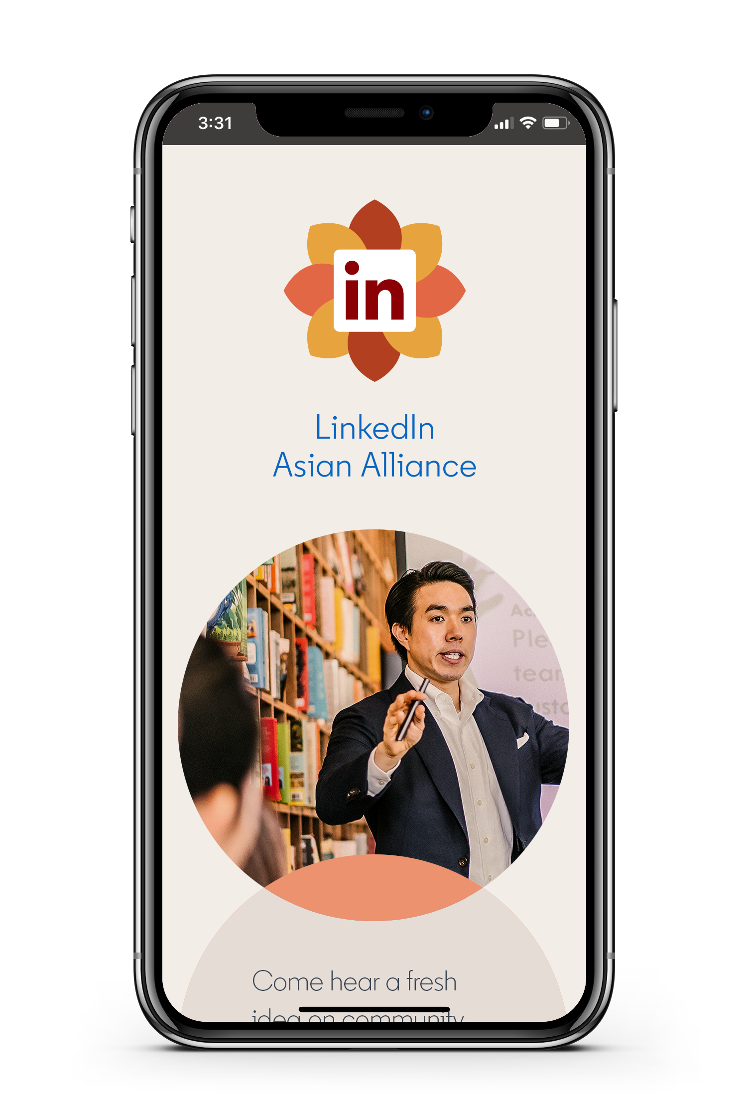 LinkedIn Employee Resource Group Asian Alliance webpage with man speaking on iPhone
