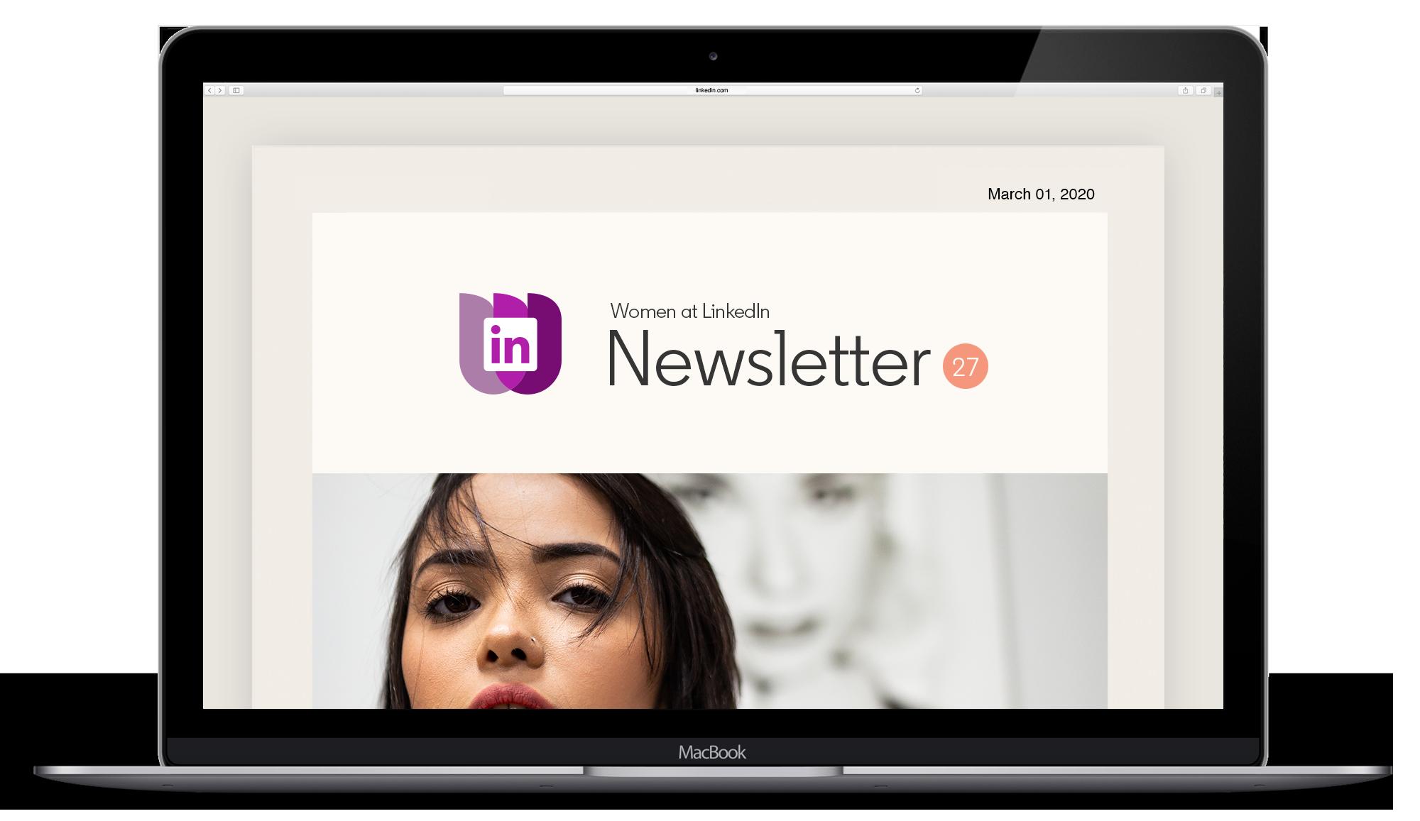 LinkedIn Employee Resource Group women's newsletter on computer