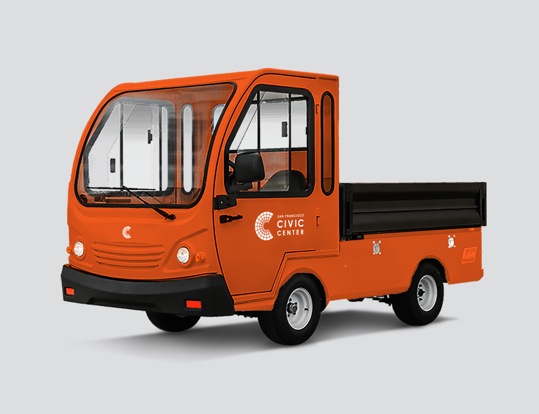 Orange San Francisco Civic Center city trucks with logo