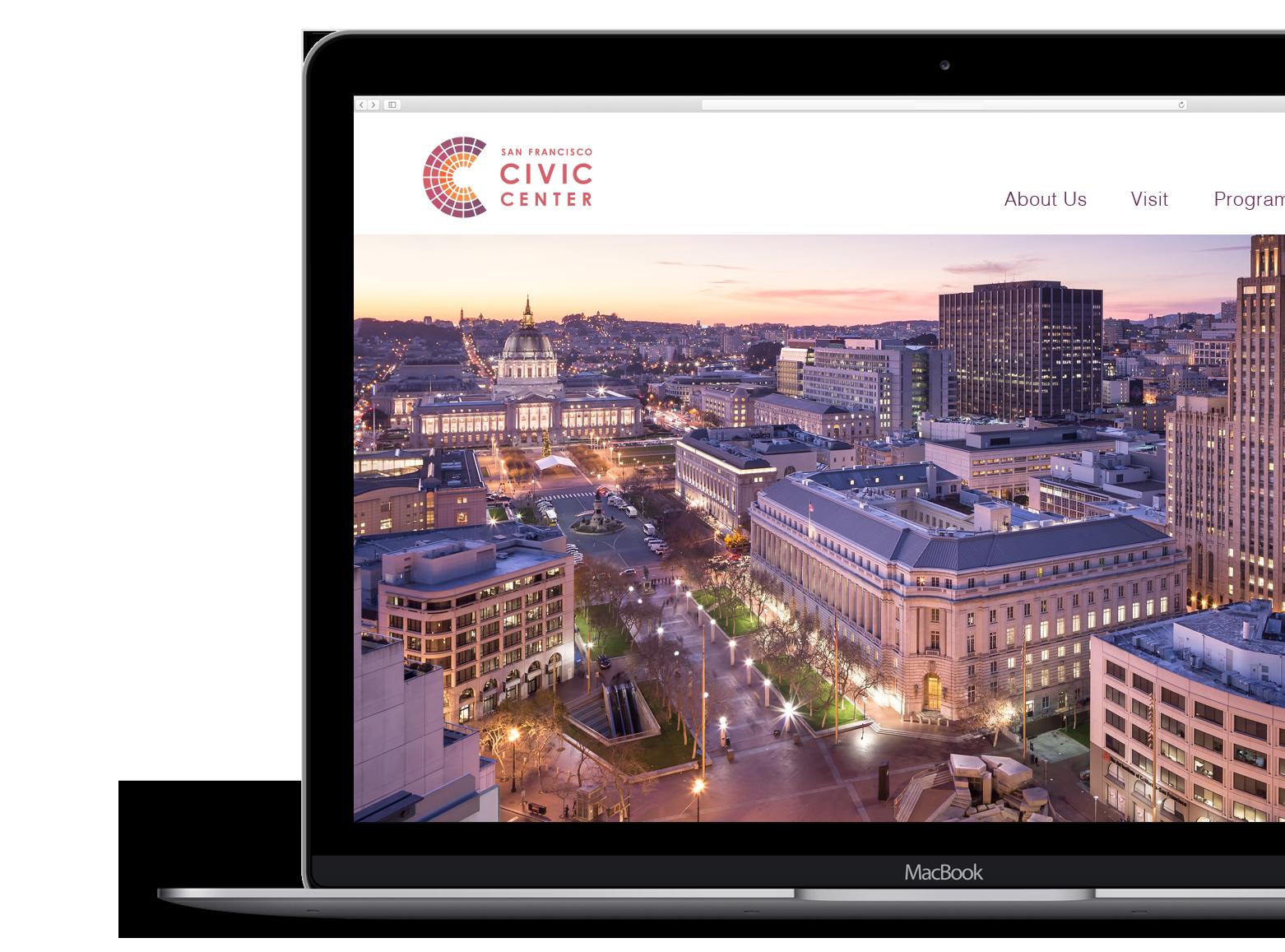 San Francisco Civic Center website on computer