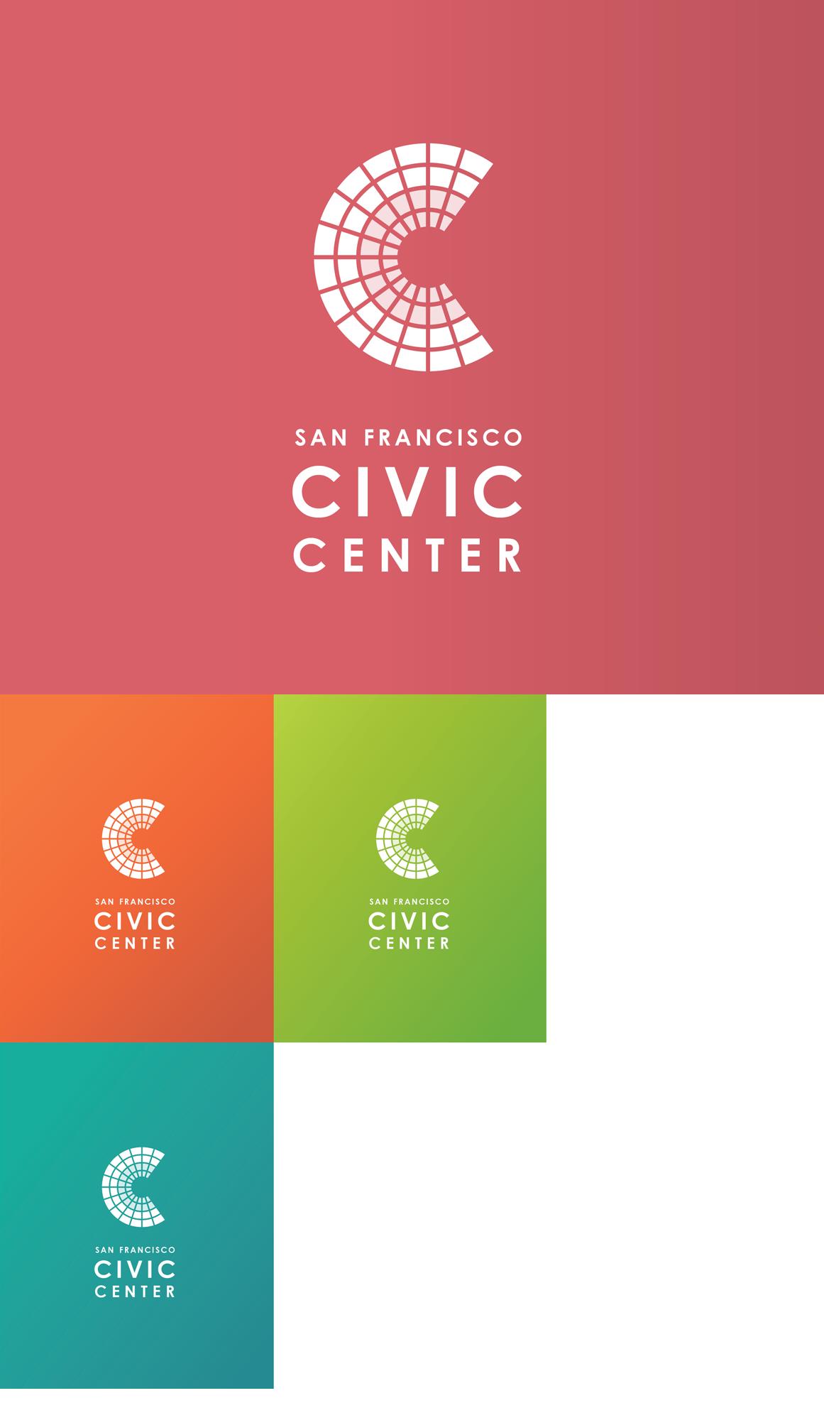 San Francisco Civic Center collection of white logos on color blocks
