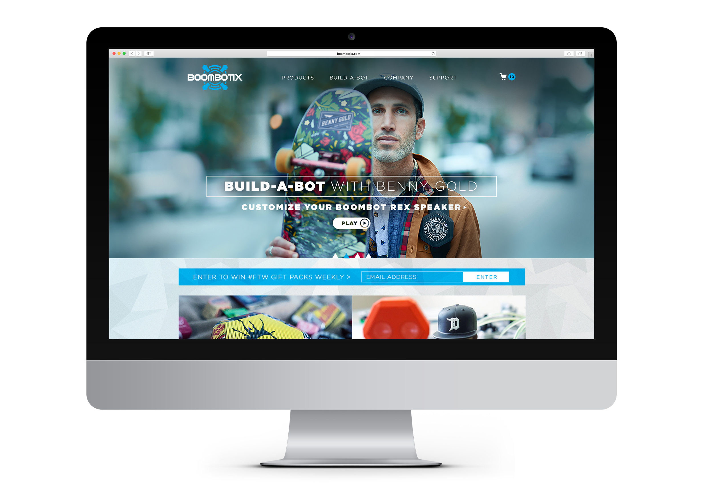 Boombotix website featuring Benny Gold on computer