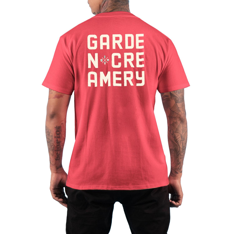 Back of Garden Creamery men's t-shirt on model