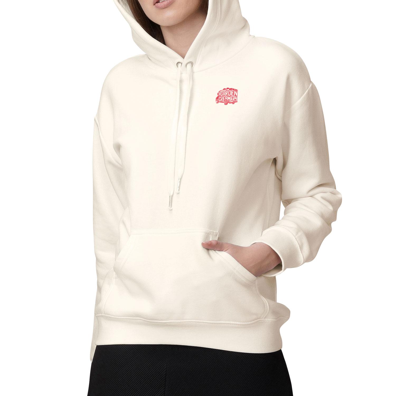 Front of Garden Creamery women's hoodie on model