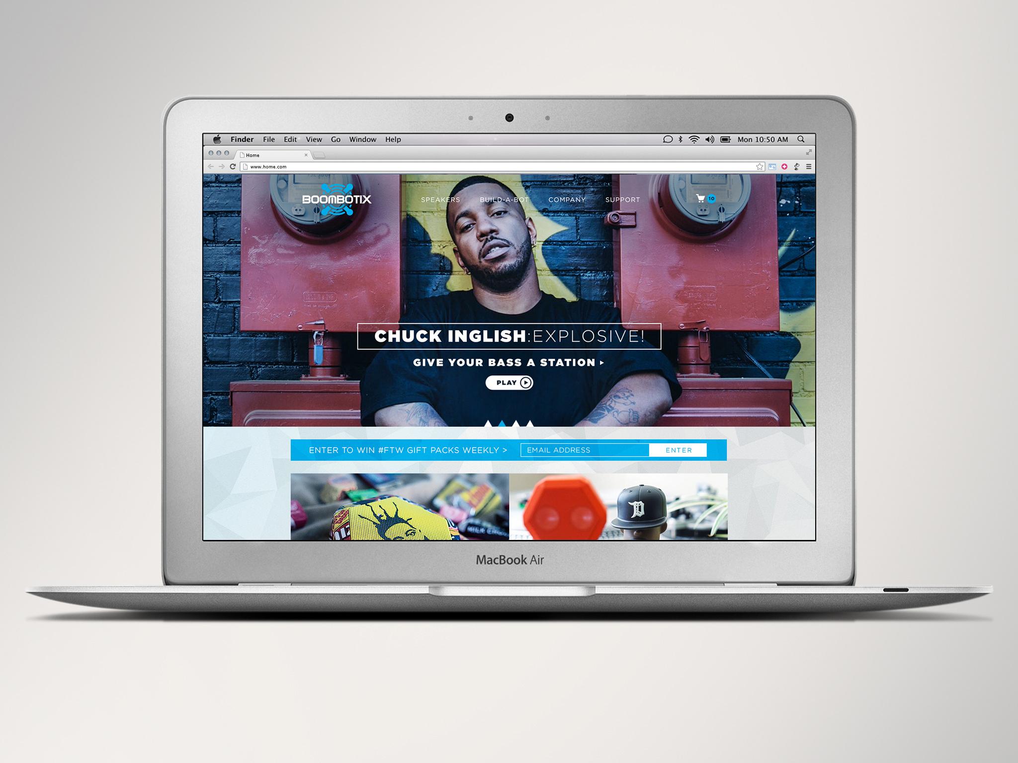 Boombotix website on computer featuring Chuck Inglish