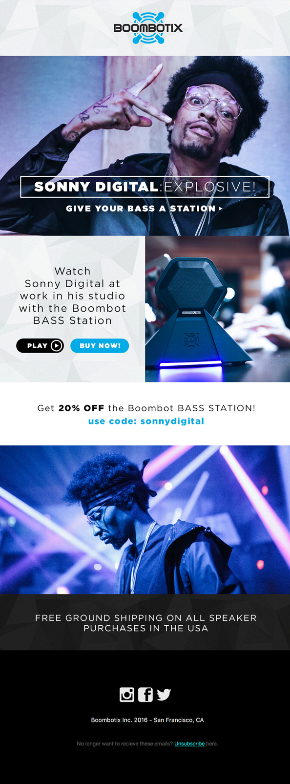 Boombotix email featuring Sonny Digital