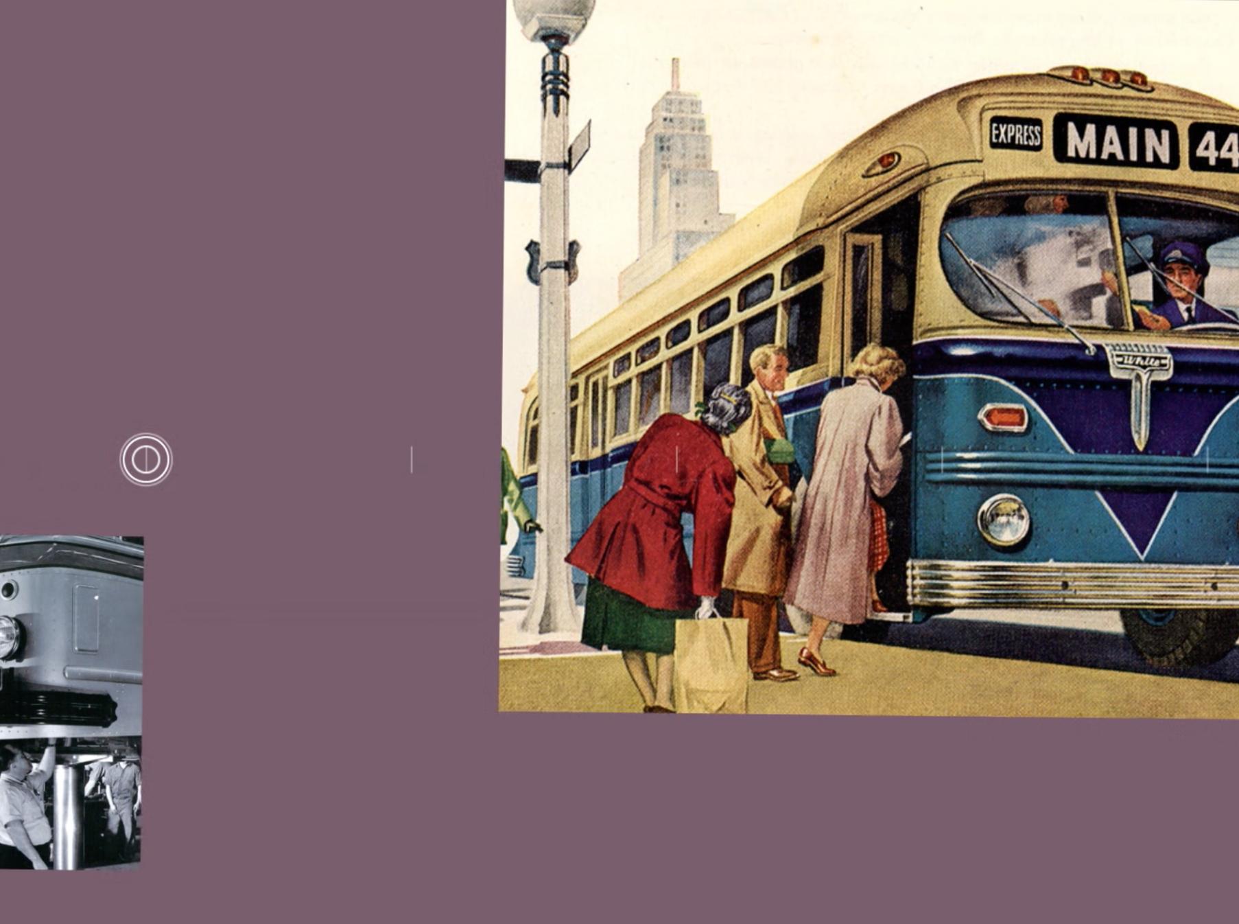 1500 Mission video still showing White Motors bus illustration