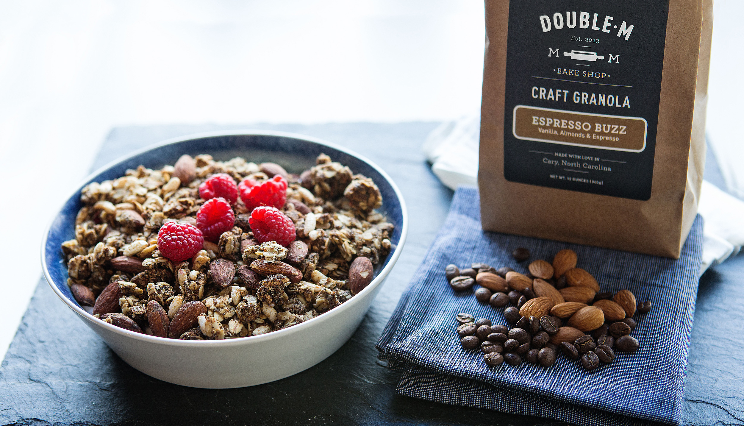 Double M Bake Shop Espresso Buzz granola and package