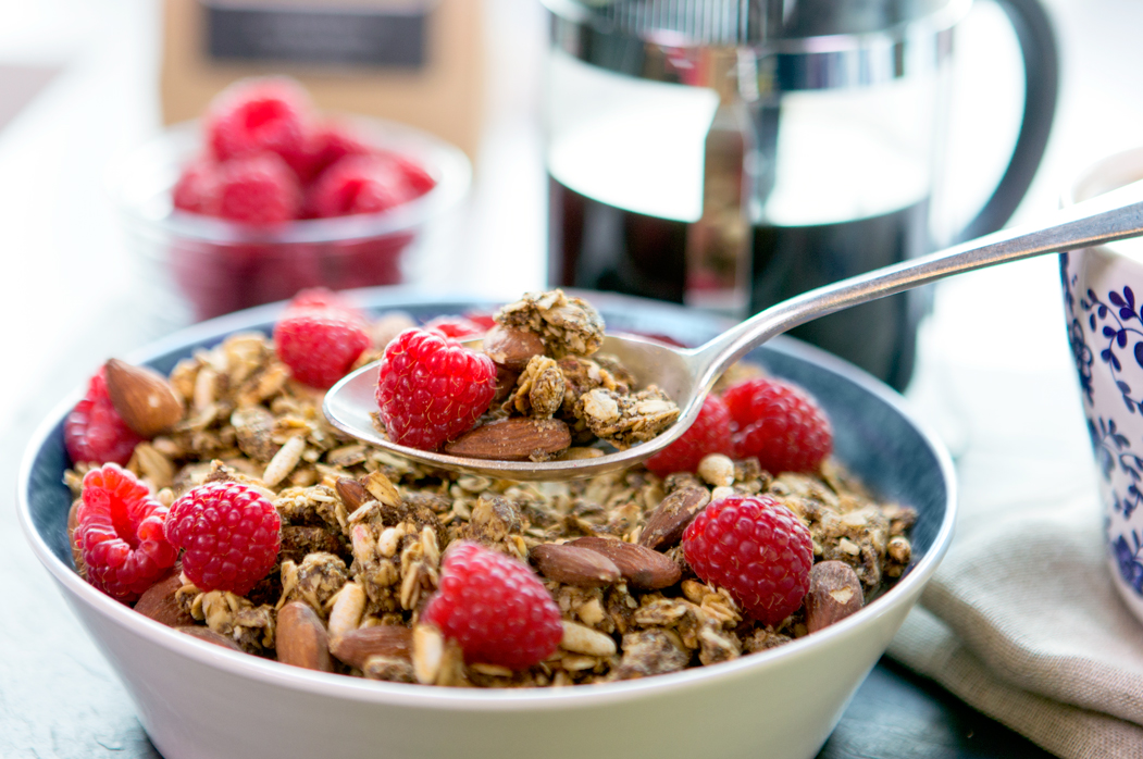 Double M Bake Shop granola with raspberries and coffee