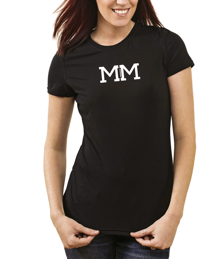 Front of Double M Bake Shop black t-shirt