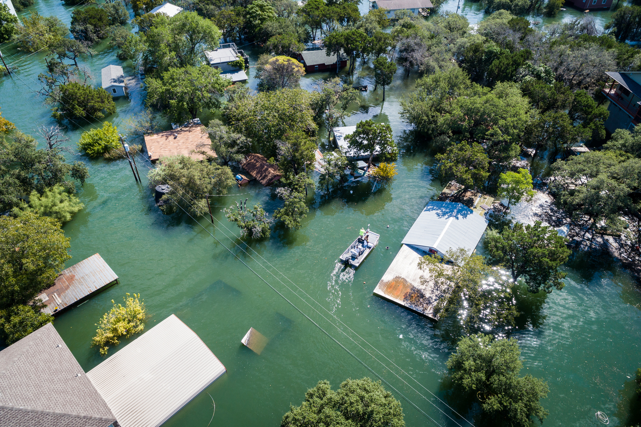 Aerial view of a flooded area. Credit: iStock.com/RoschetzkyIstockPhoto