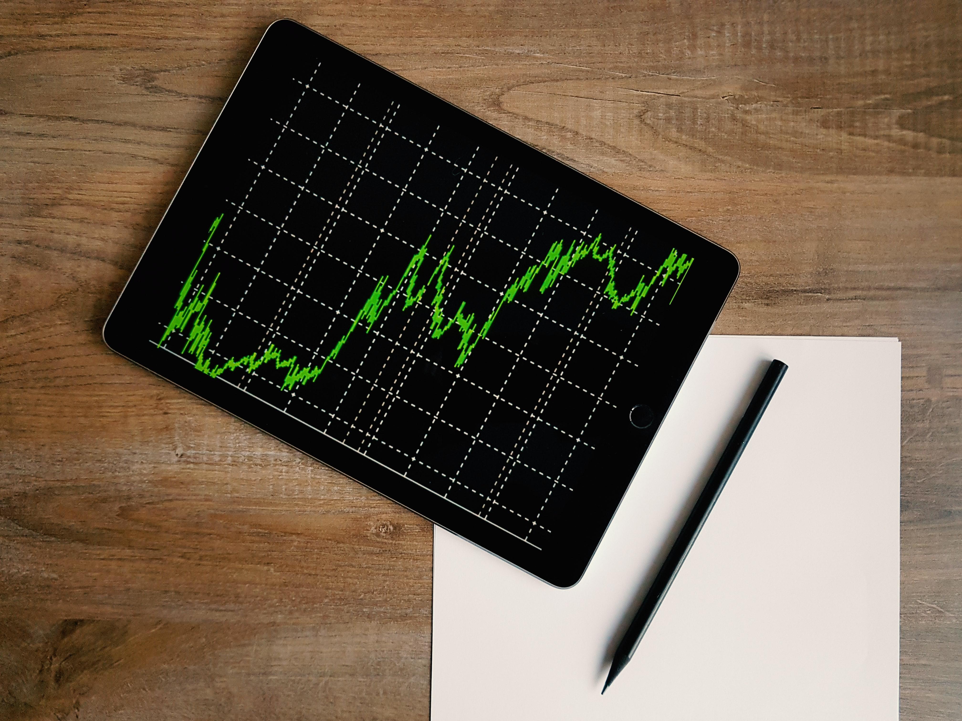 iPad showing a chart.