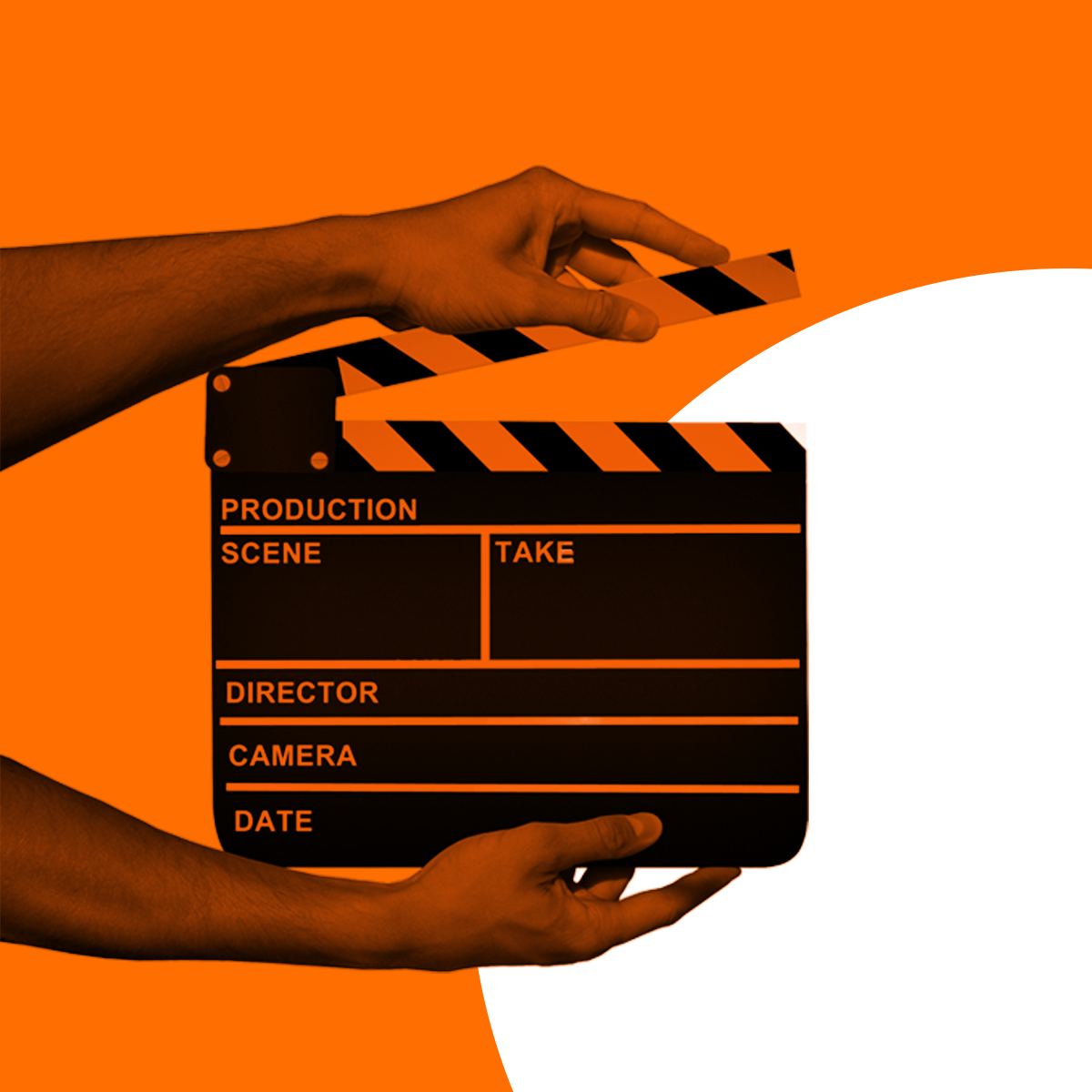 Hands holding a movie clapboard, with circles in the background