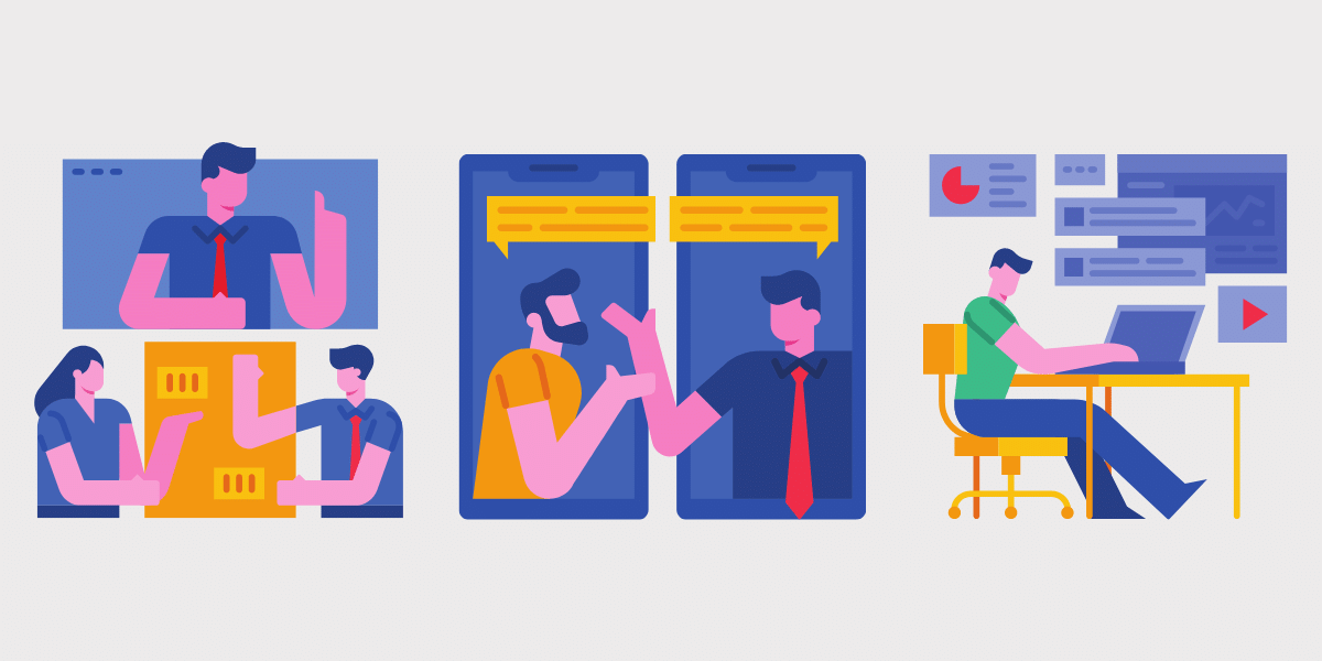 Colorful illustrations of various digital communications such as video conferencing and webinar