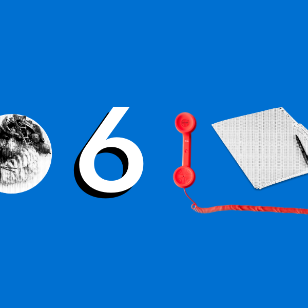 Image displaying a plate of food, the number 6, a red phone, and a manila folder