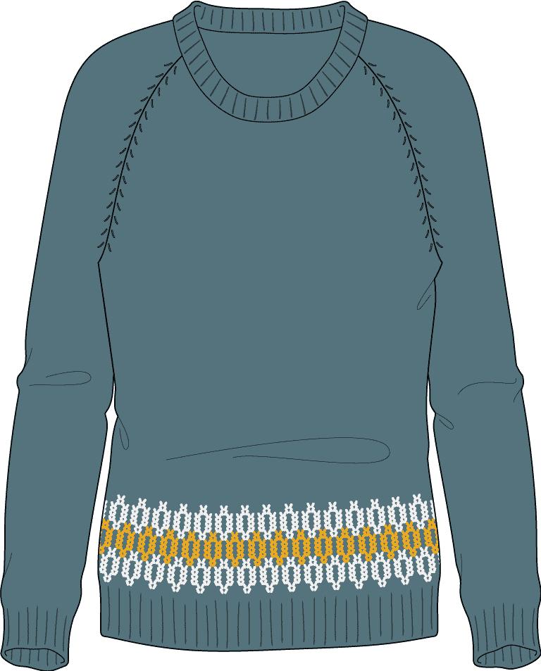Bellish stacked links raglan sweater illustration