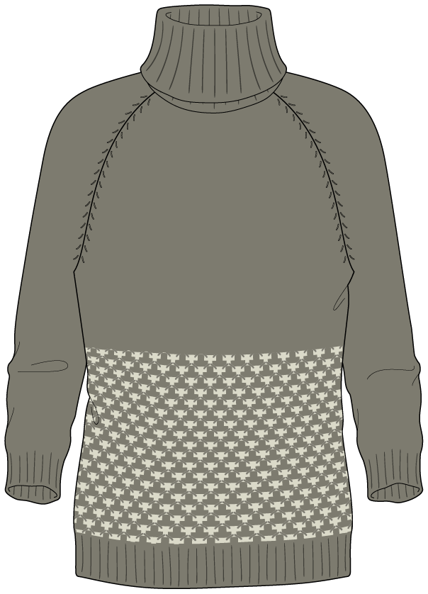 Bellish thorn stitch raglan sweater illustration