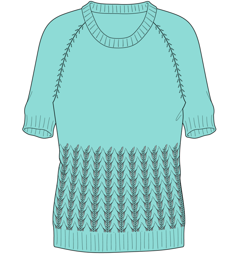 Bellish little fountain lace raglan sweater illustration
