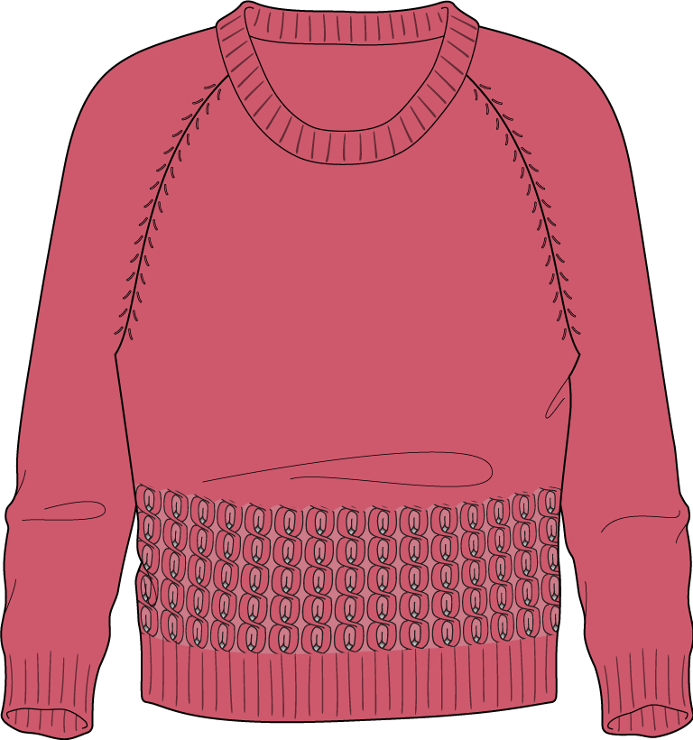Bellish oval twist stitch raglan sweater illustration