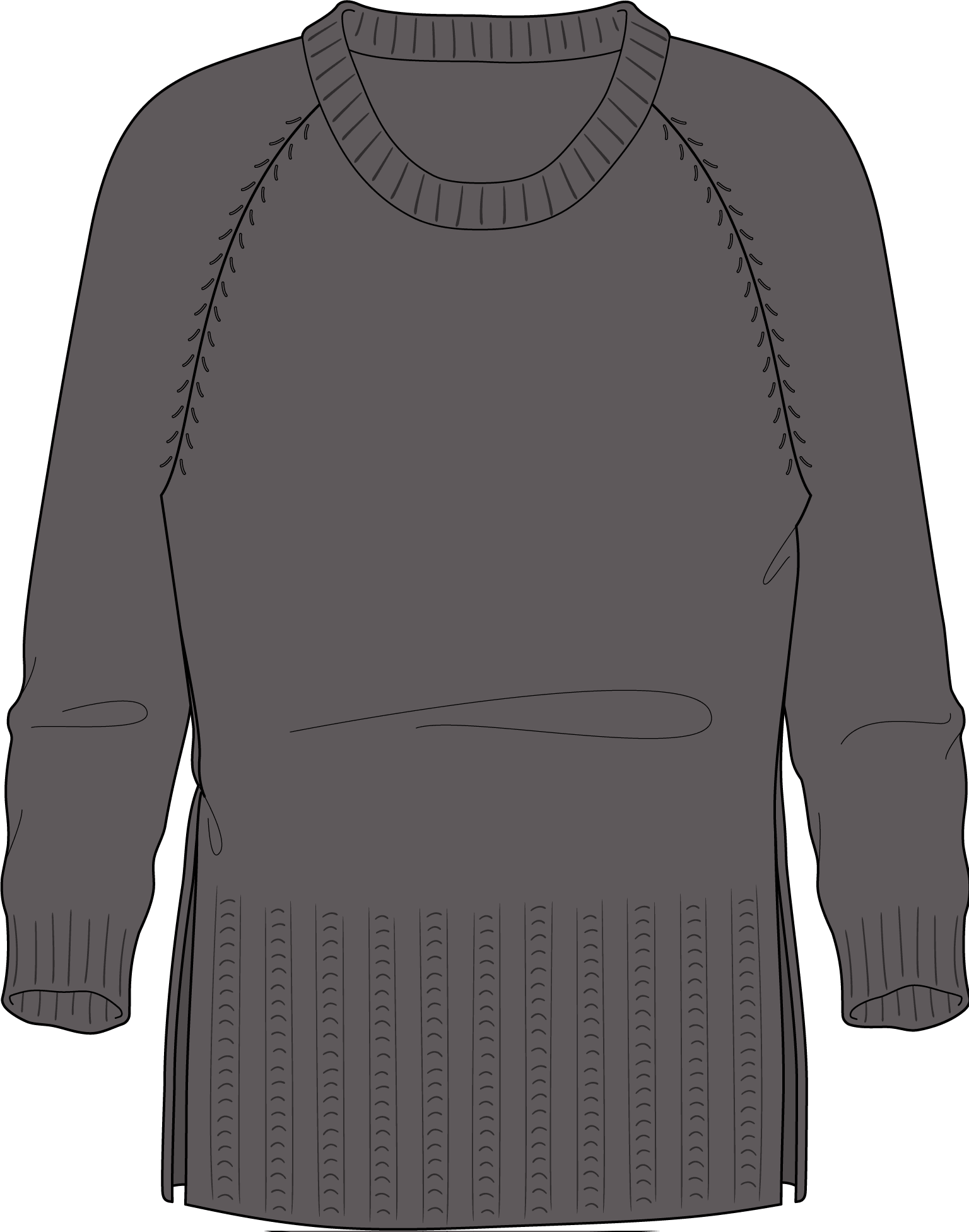 Bellish broken rib split body raglan sweater illustratiton