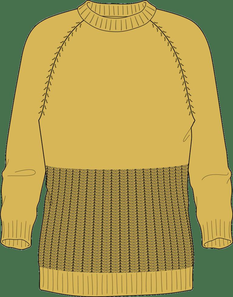 Bellish spine stitch raglan sweater illustration